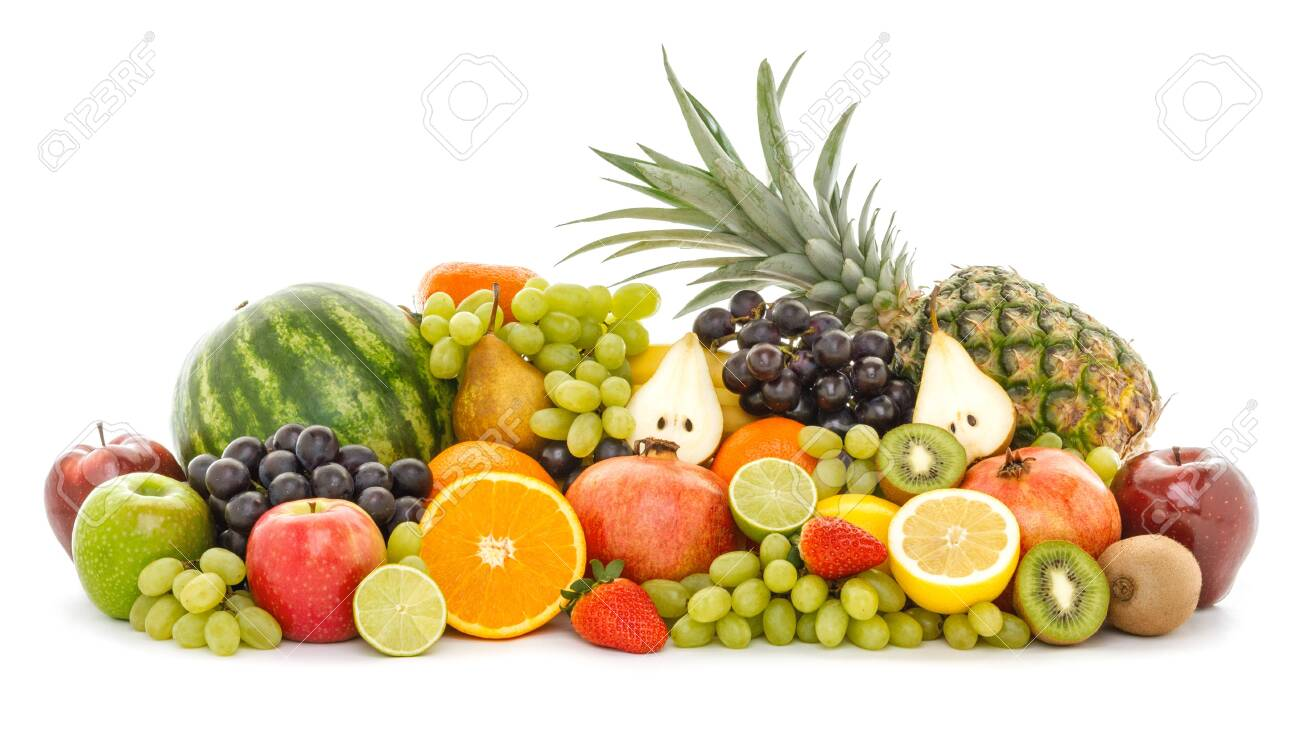A heap of many different tropical fruits isolated on white background. Healthy food and nutrition, vegan lifestyle and organic fair trade concept. - 122579930