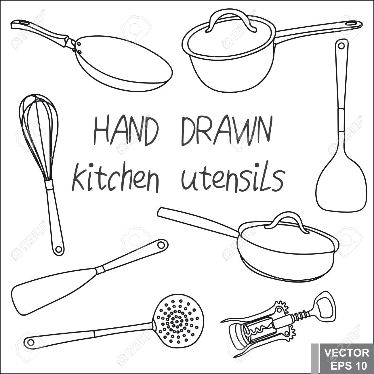 Hand Drawing. Set Kitchen Utensils. To Prepare The Food. For ...