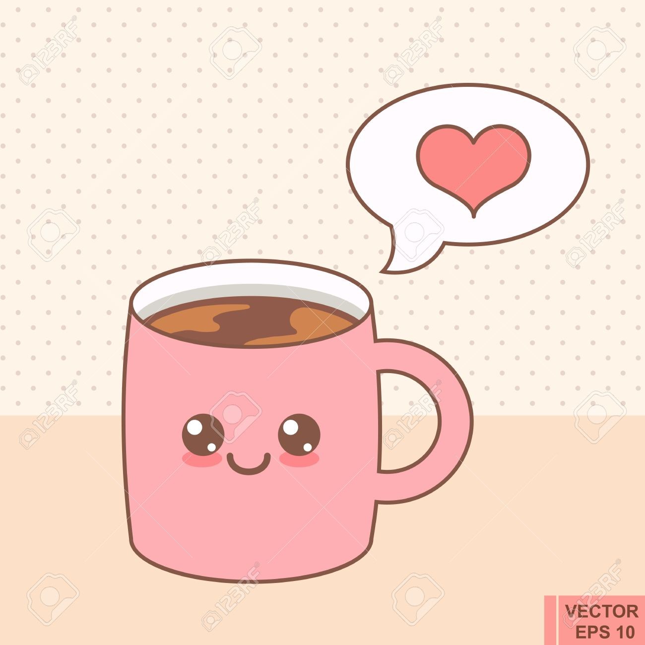 Cup Emoji With Cheeks And Eyes Colored Beautiful Doodle Cup Royalty Free Cliparts Vectors And Stock Illustration Image 66543504