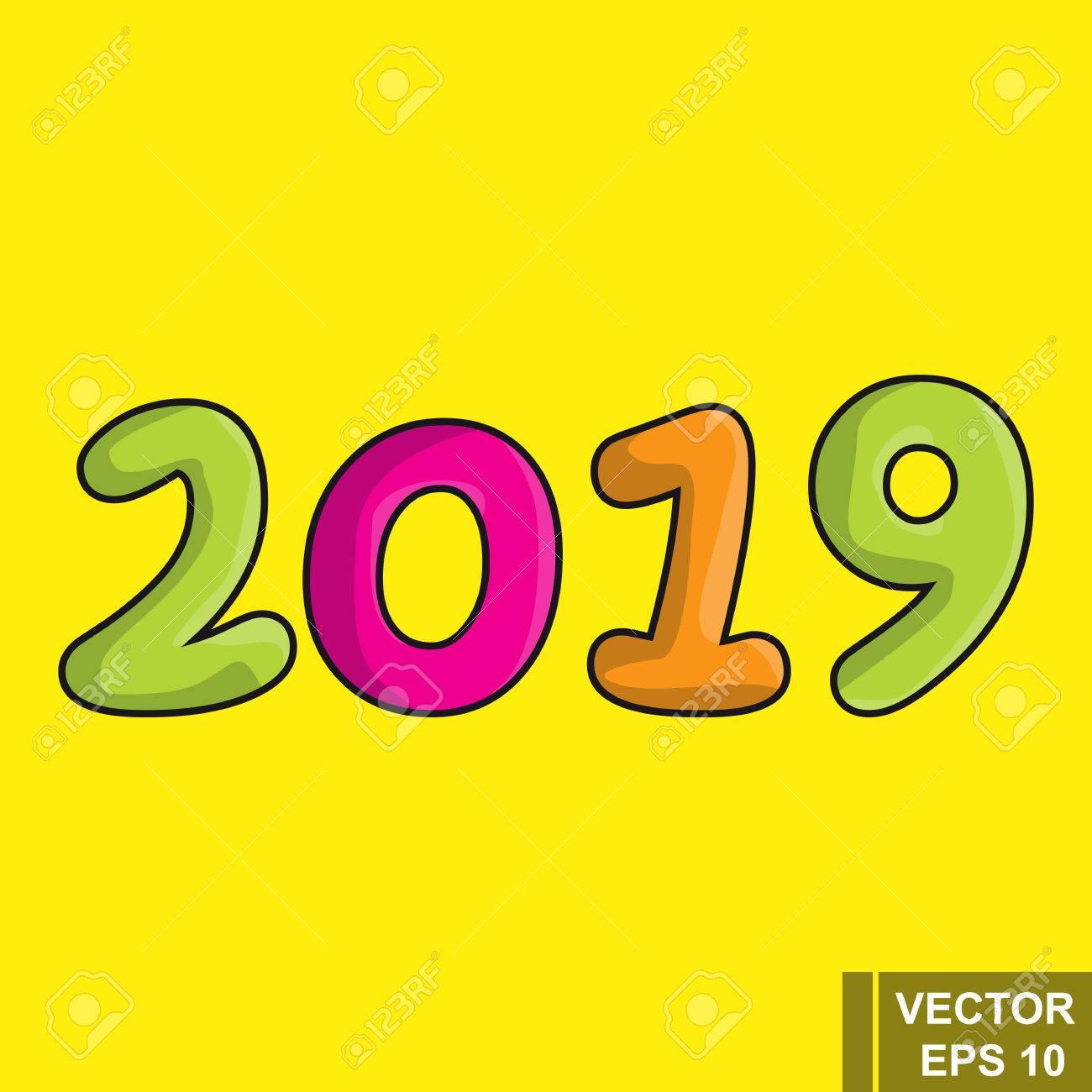 Calendario Dibujo 2019.Ano Nuevo 2019 Figuras De Dibujos Animados Aislados En Un Fondo Amarillo Celebracion El Calendario