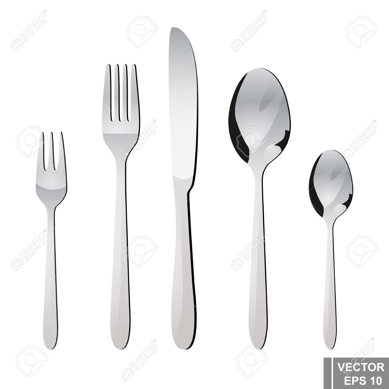 Cutlery Spoon Fork Knife Serving Preparing For Dinner Royalty