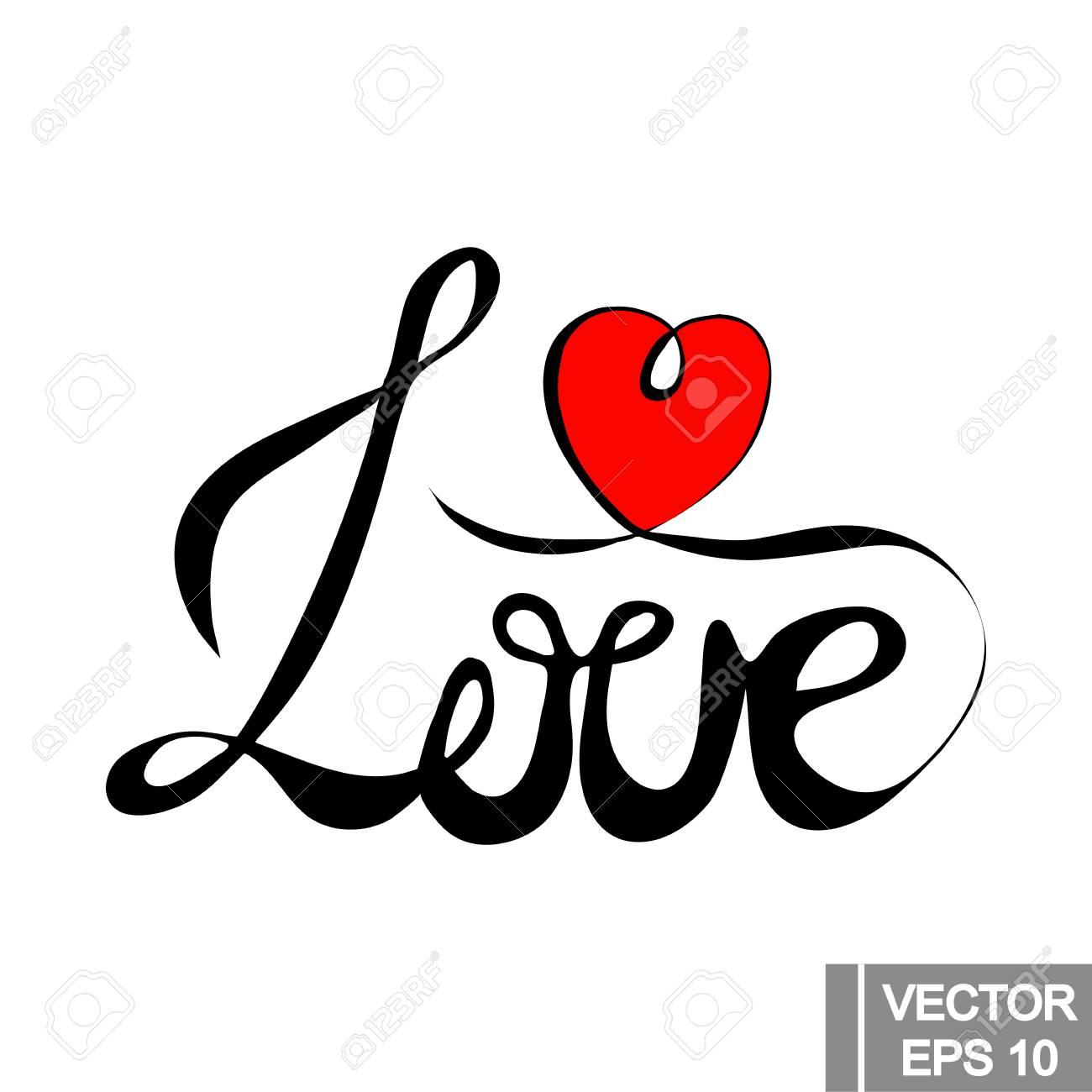Signe D Amour Avec Coeur Rouge Illustration Vectorielle Isolé Sur Backgraound Blanc élément Pour Votre Logo Autocollant Et Dessins De Valentine