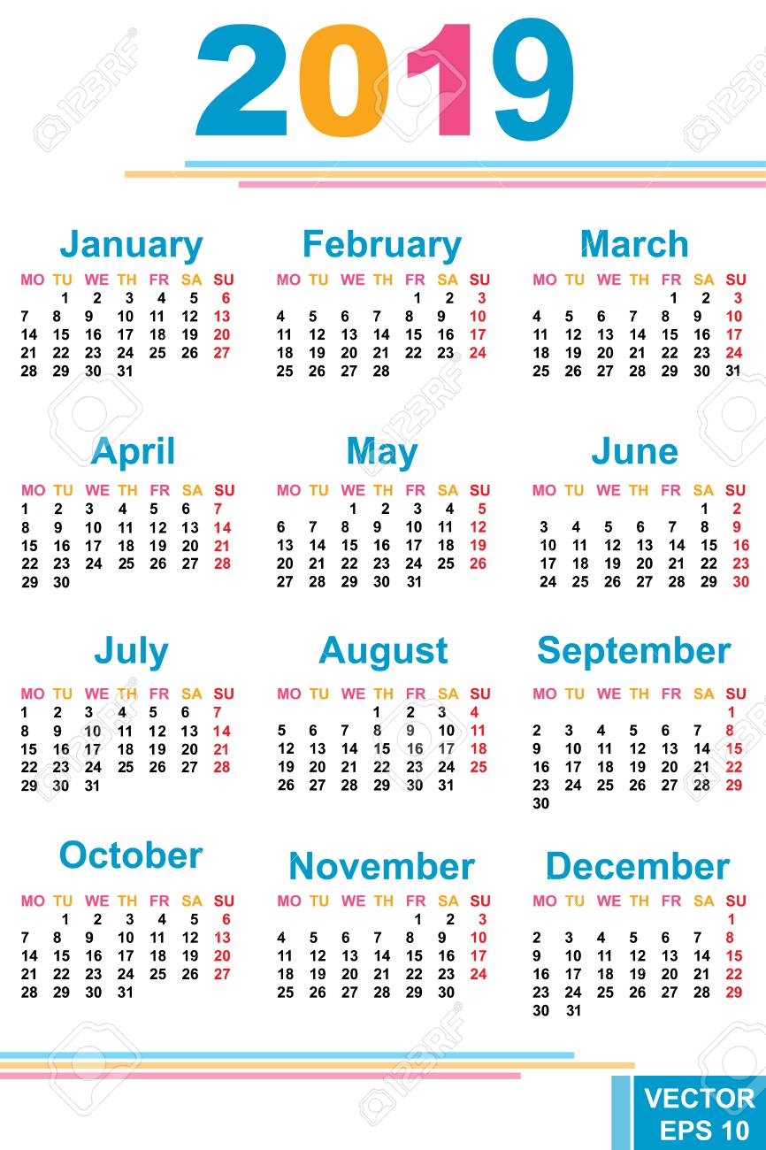 2019 Calendar Dates The Calendar. New Year. 2019. Date. For Your Design. Royalty Free