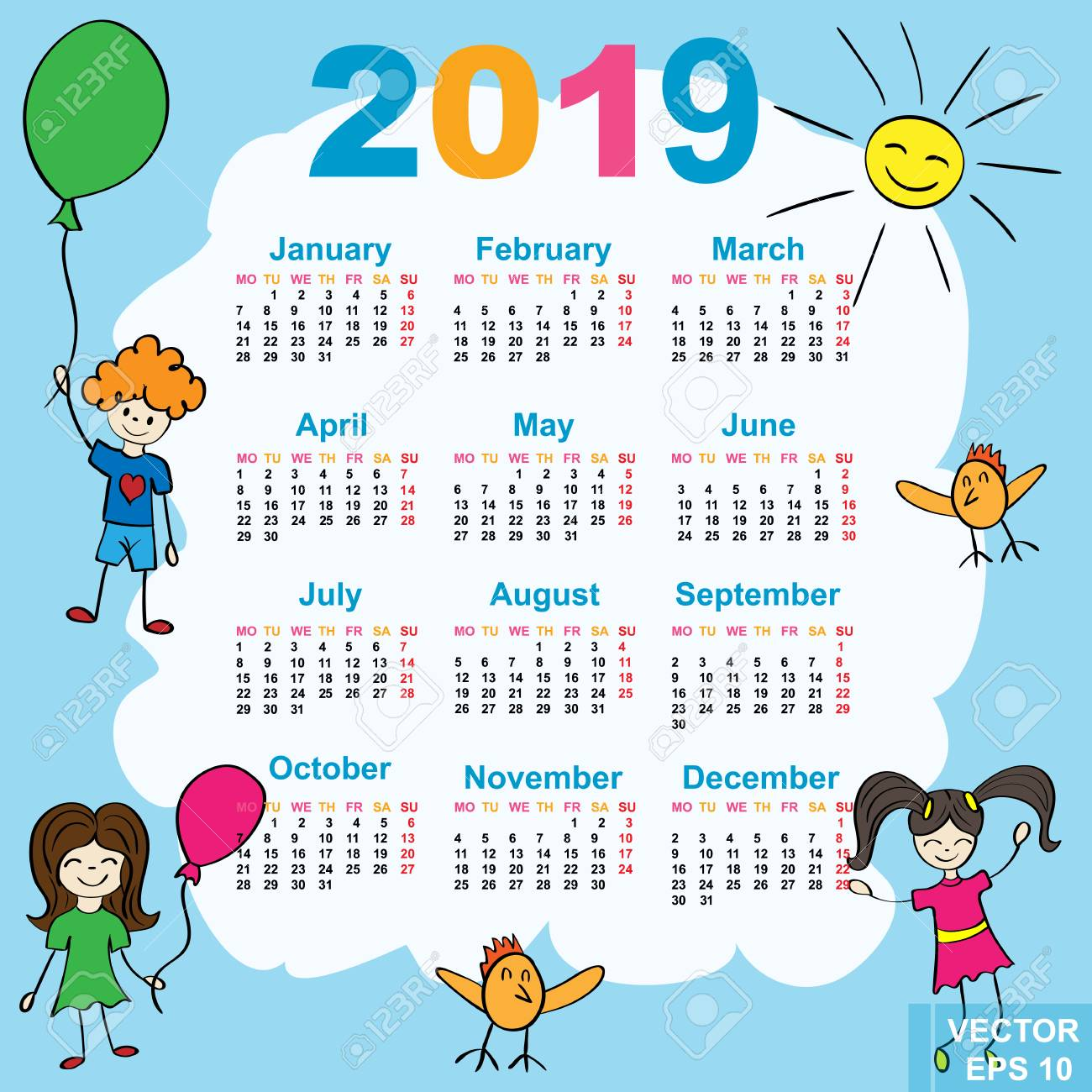 the calendar new year 2019 date for your design stock vector