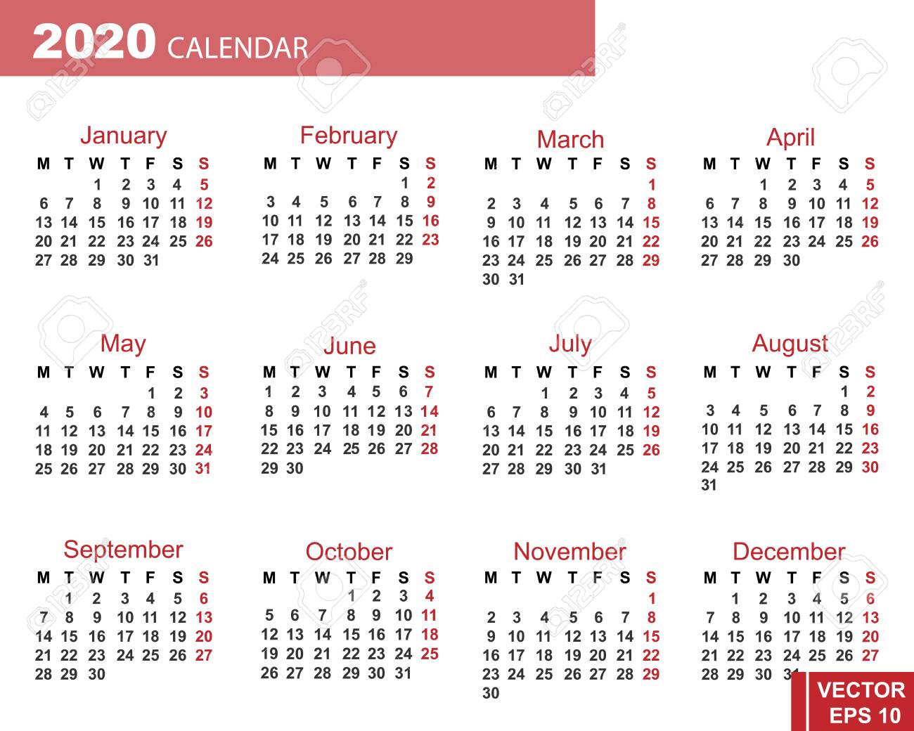 Calendar Year 2020.Calendar For The New Year 2020 Grid Date For Your Design