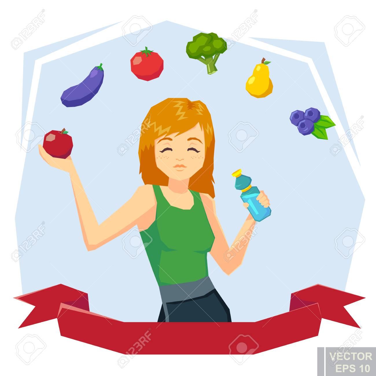 La Muchacha Activa De La Aptitud Levanta La Manzana Y Una Botella De