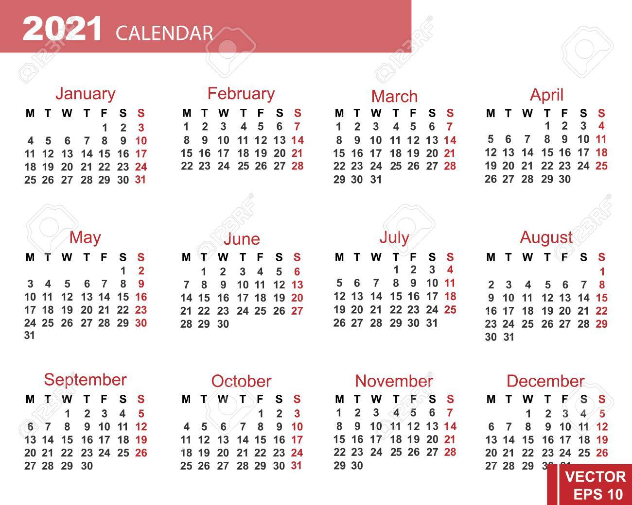 Date Calendar 2021 The Calendar. New Year 2021 Date. For Your Design. Royalty Free