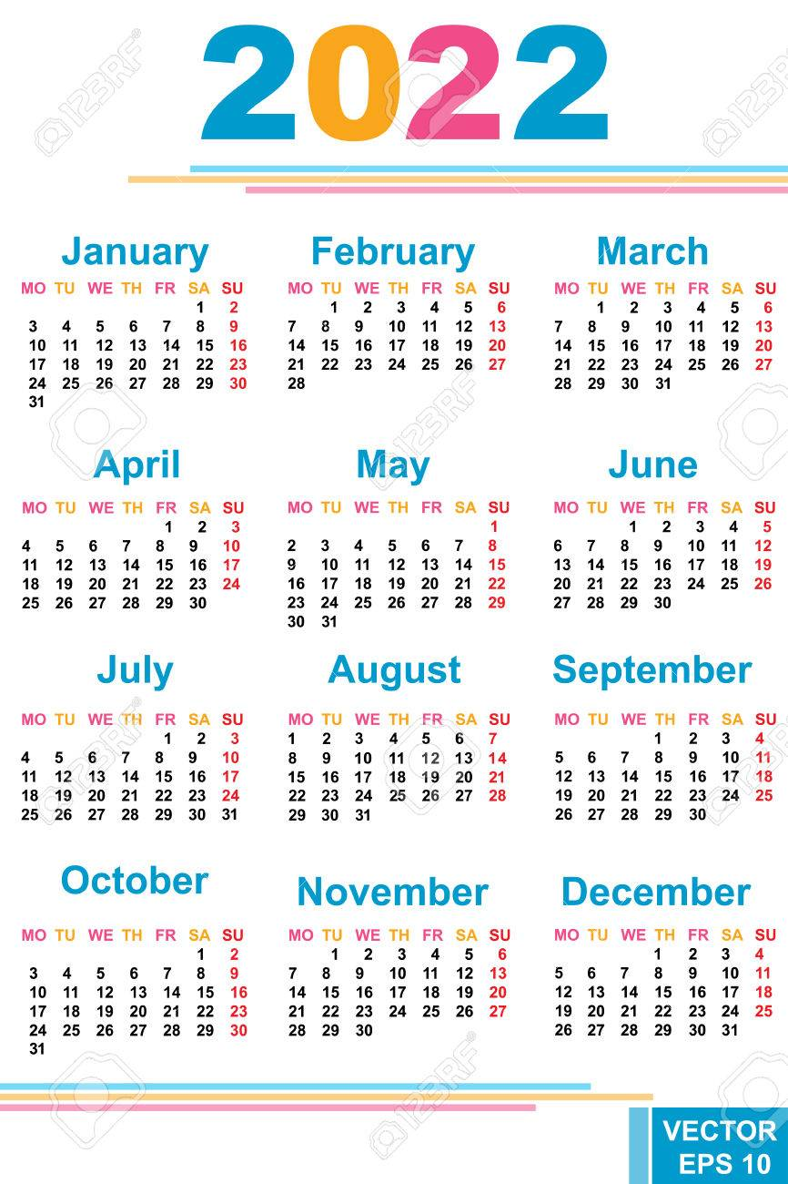 2022 Calendar Dates.The Calendar New Year 2022 Date For Your Design Royalty Free Cliparts Vectors And Stock Illustration Image 71653619
