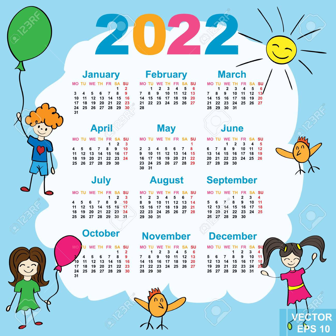 Uw Calendar 2022.The Calendar New Year 2022 Date For Your Design Royalty Free Cliparts Vectors And Stock Illustration Image 71737516