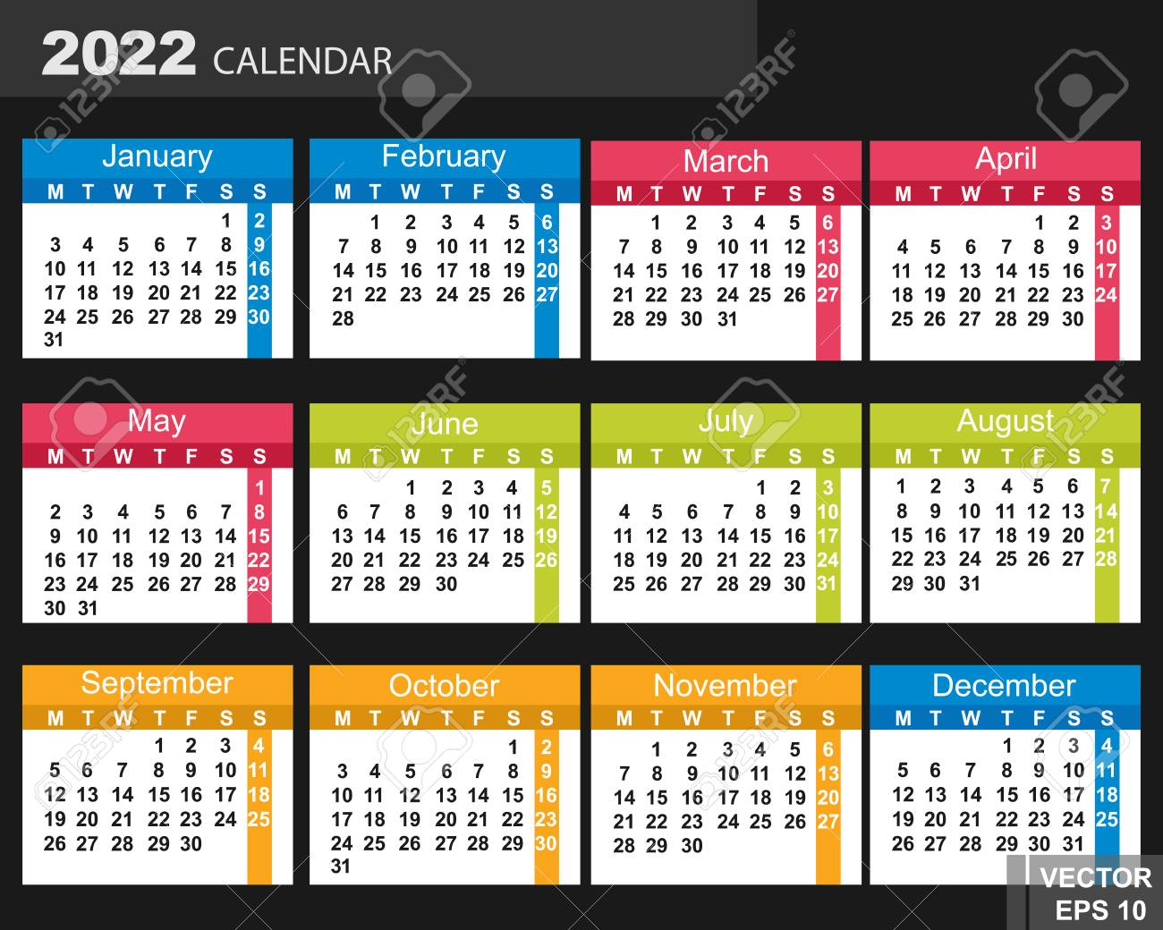 Uw Calendar 2022.The Calendar New Year 2022 Date For Your Design Royalty Free Cliparts Vectors And Stock Illustration Image 71739066
