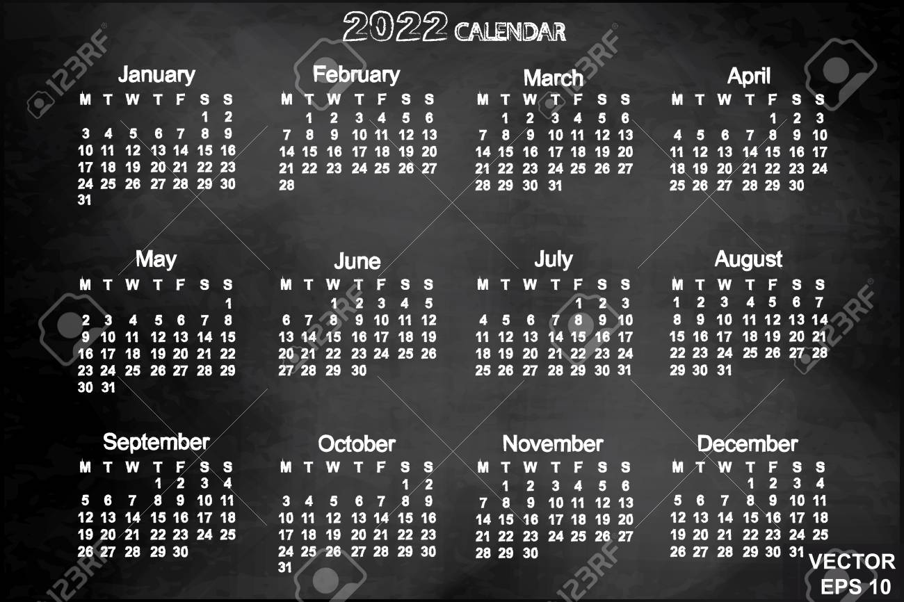 Uw Calendar 2022.The Calendar New Year 2022 Date For Your Design Royalty Free Cliparts Vectors And Stock Illustration Image 71653611