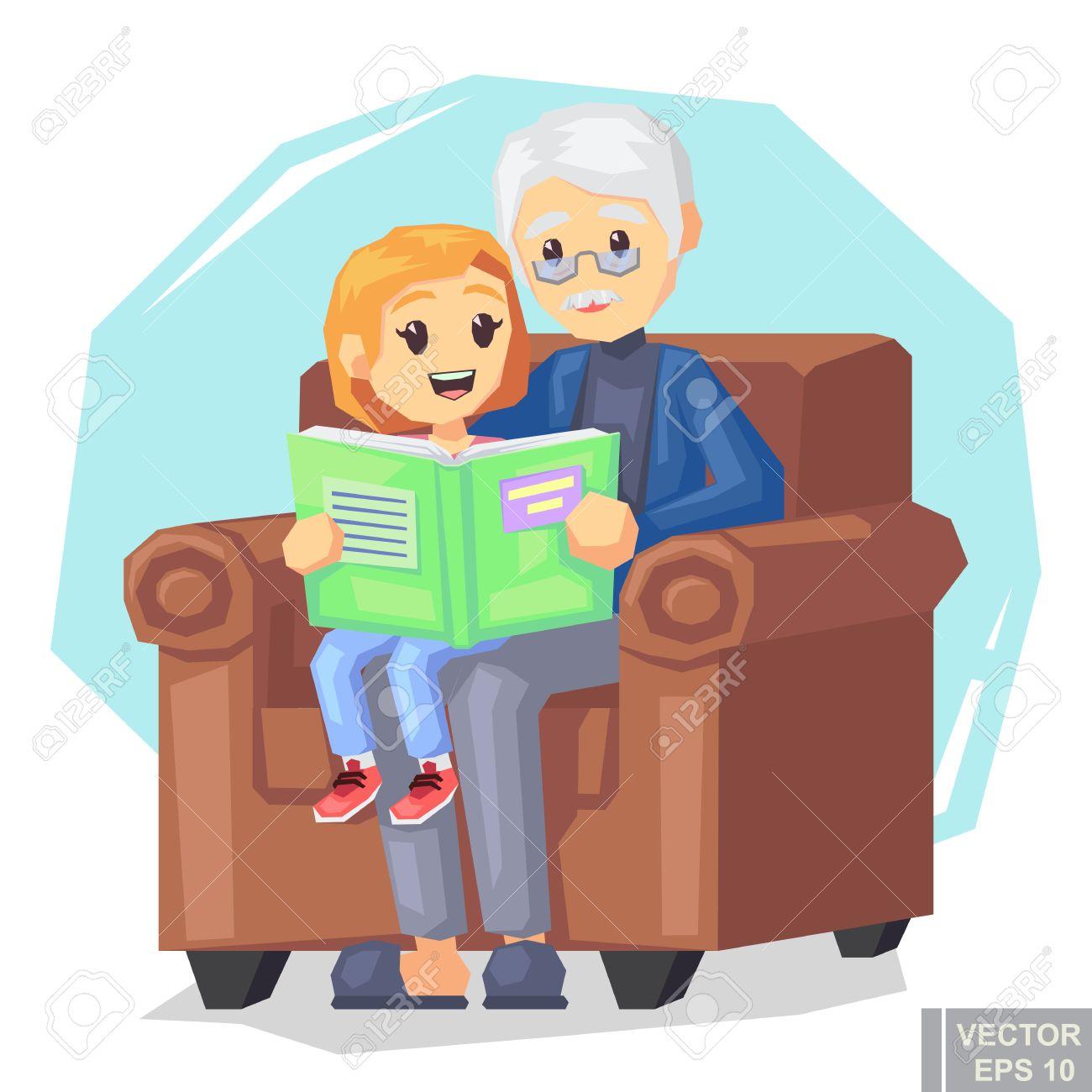 Illustration De Petite Fille Enfant écoutant Leur Grand Père Lisant Une Histoire De Livre Dessin Animé Illustration Vectorielle Eps10