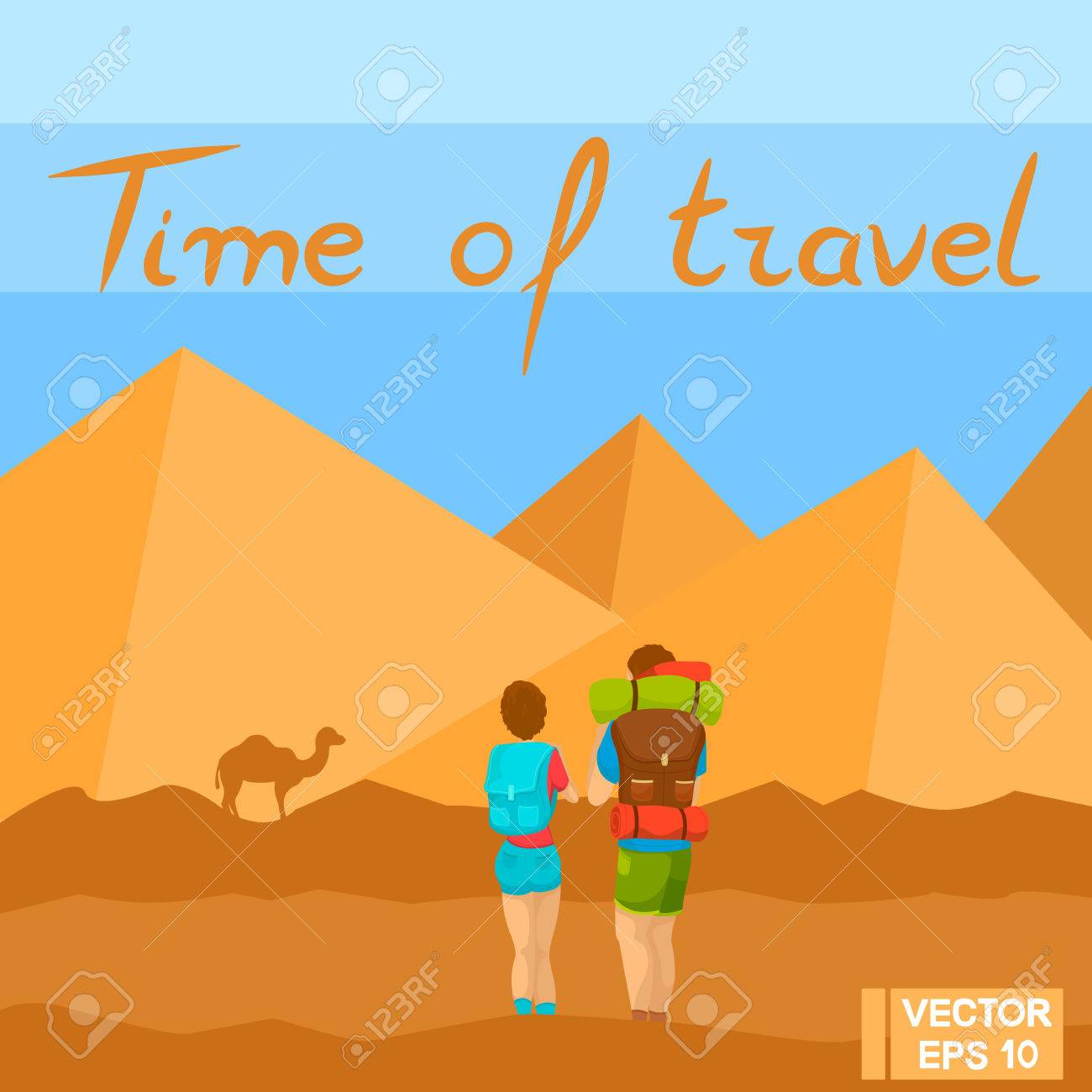 Image of: Portrait Tourists In The Desert Travelers Look At The Pyramids Travel To Hot Countries 123rfcom Vector Illustration Tourists In The Desert Travelers Look At