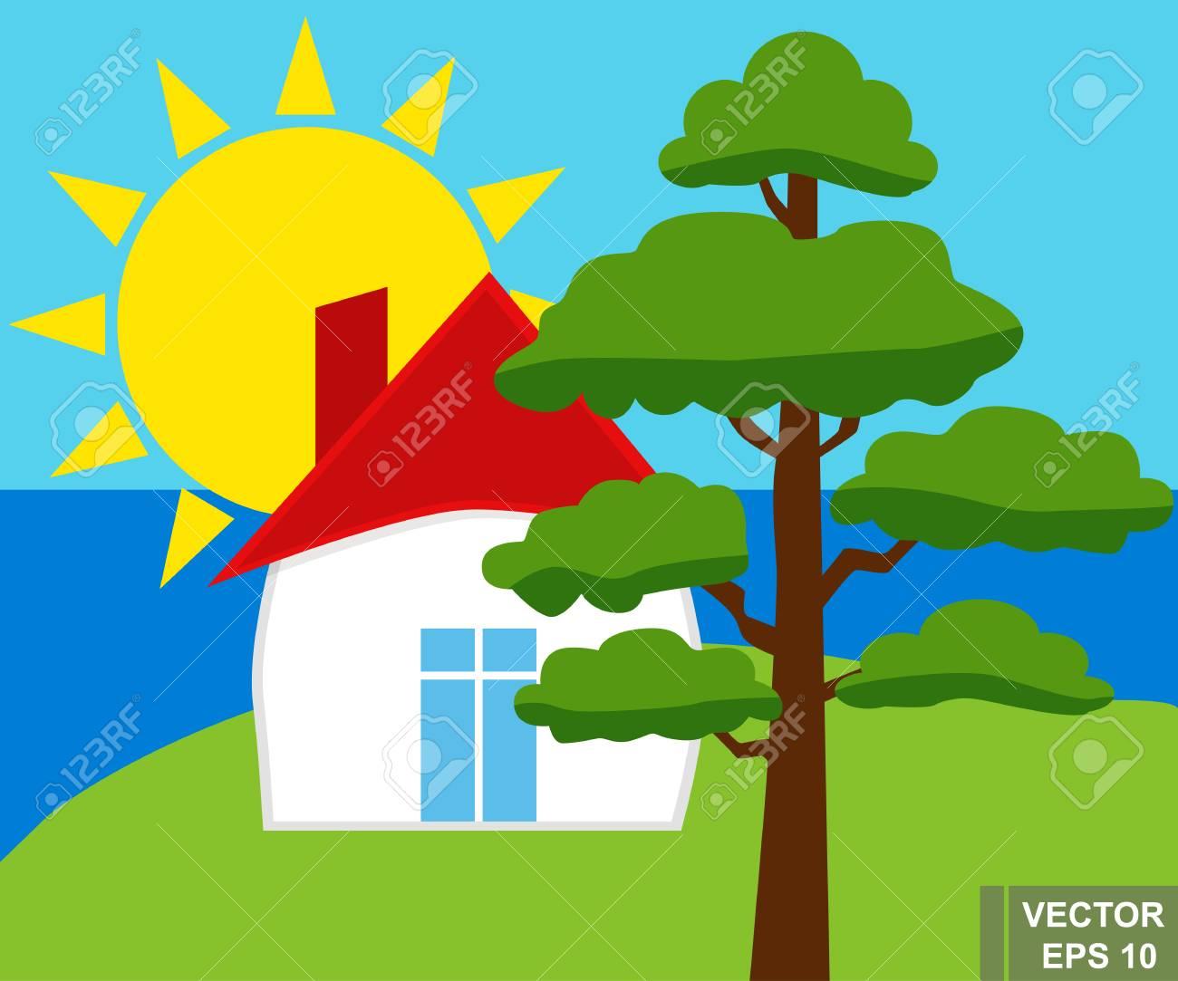 Landschaft. Haus. Baum. Gutes Wetter. Für Ihr Design. Lizenzfrei ...