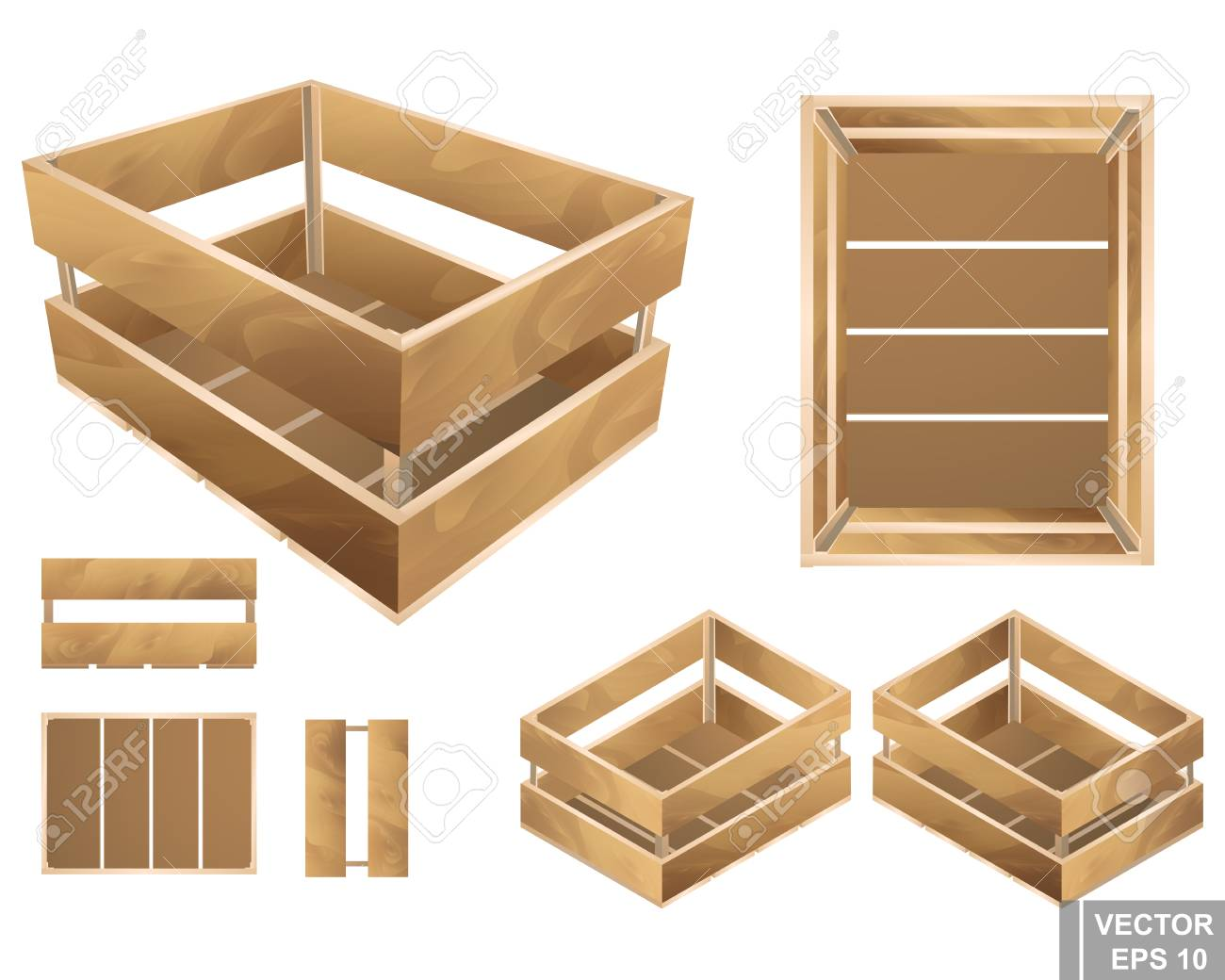 Set Of Wooden Box For Fruits And Vegetables Texture Isolated On White Background