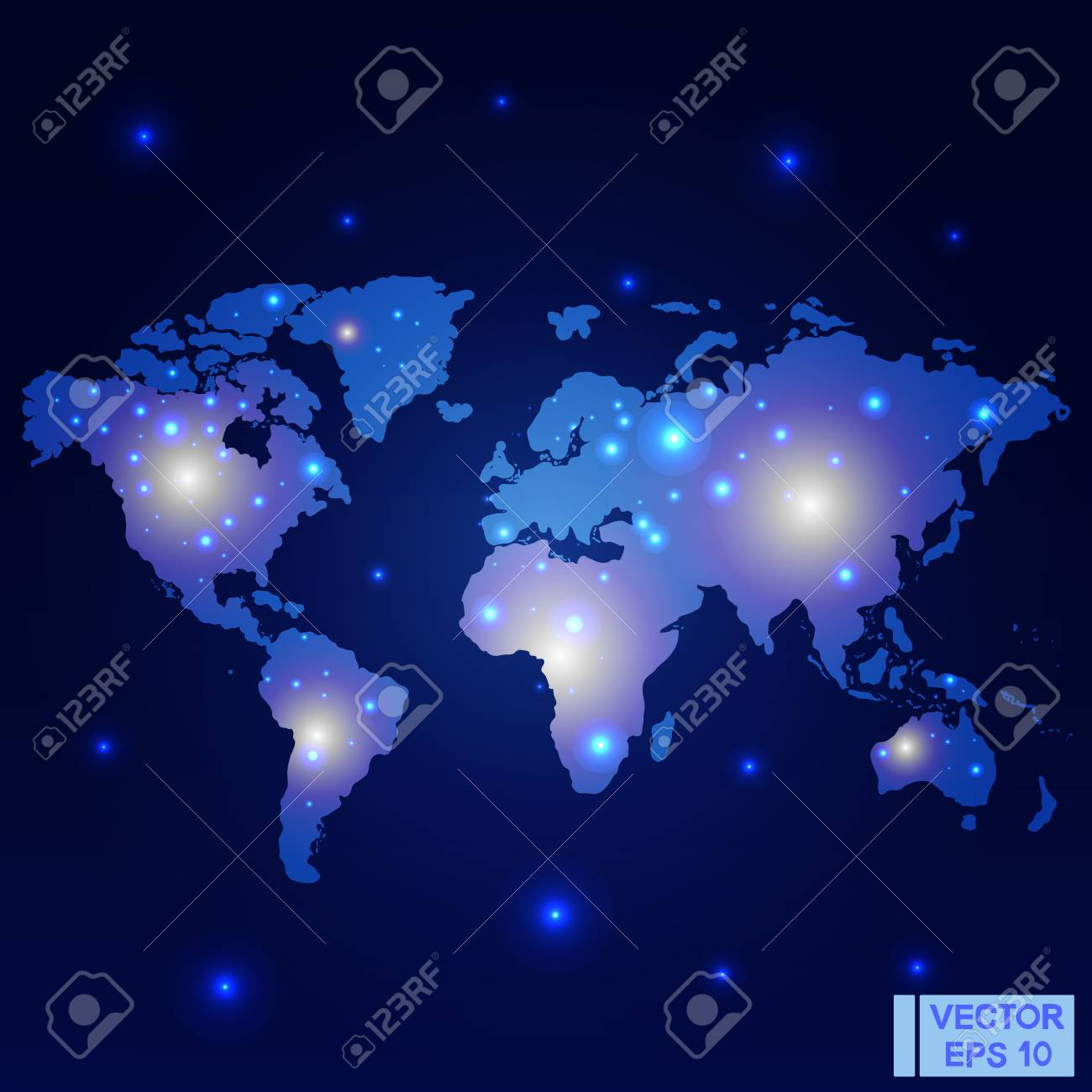 Vector image world map night lights on the map glowing marks world map night lights on the map glowing marks on a dark blue background gumiabroncs Gallery