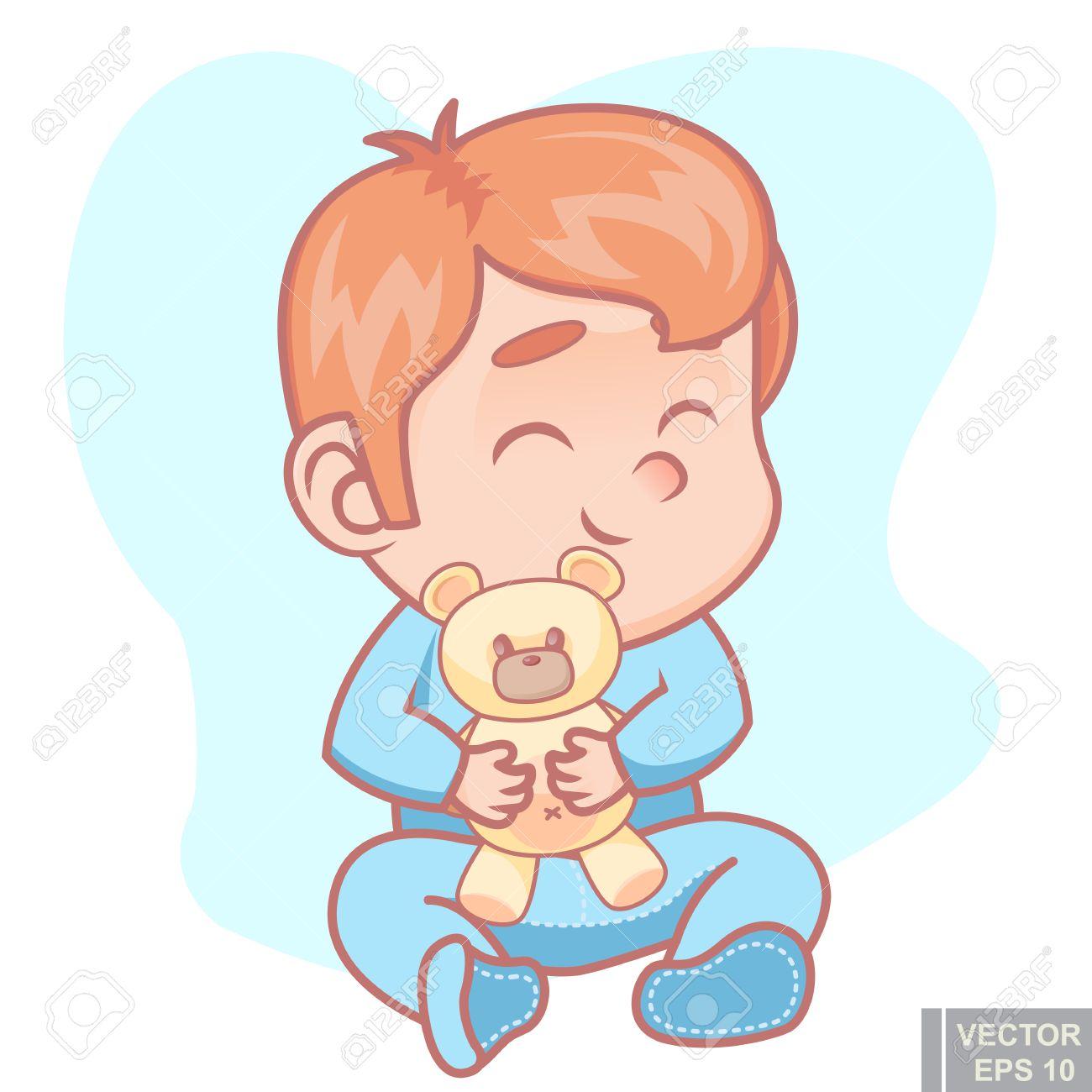 946d190e07 Foto de archivo - Ilustración de lindo bebé de dibujos animados en pijama  con oso de peluche