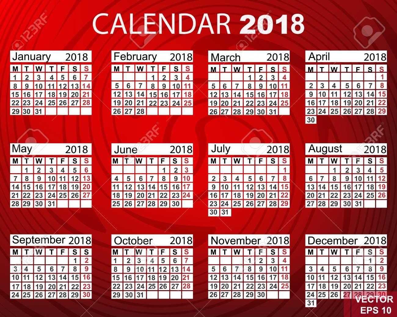 Der Kalender. Neues Jahr 2018. Jahr Des Hundes Der Gelben Erde ...