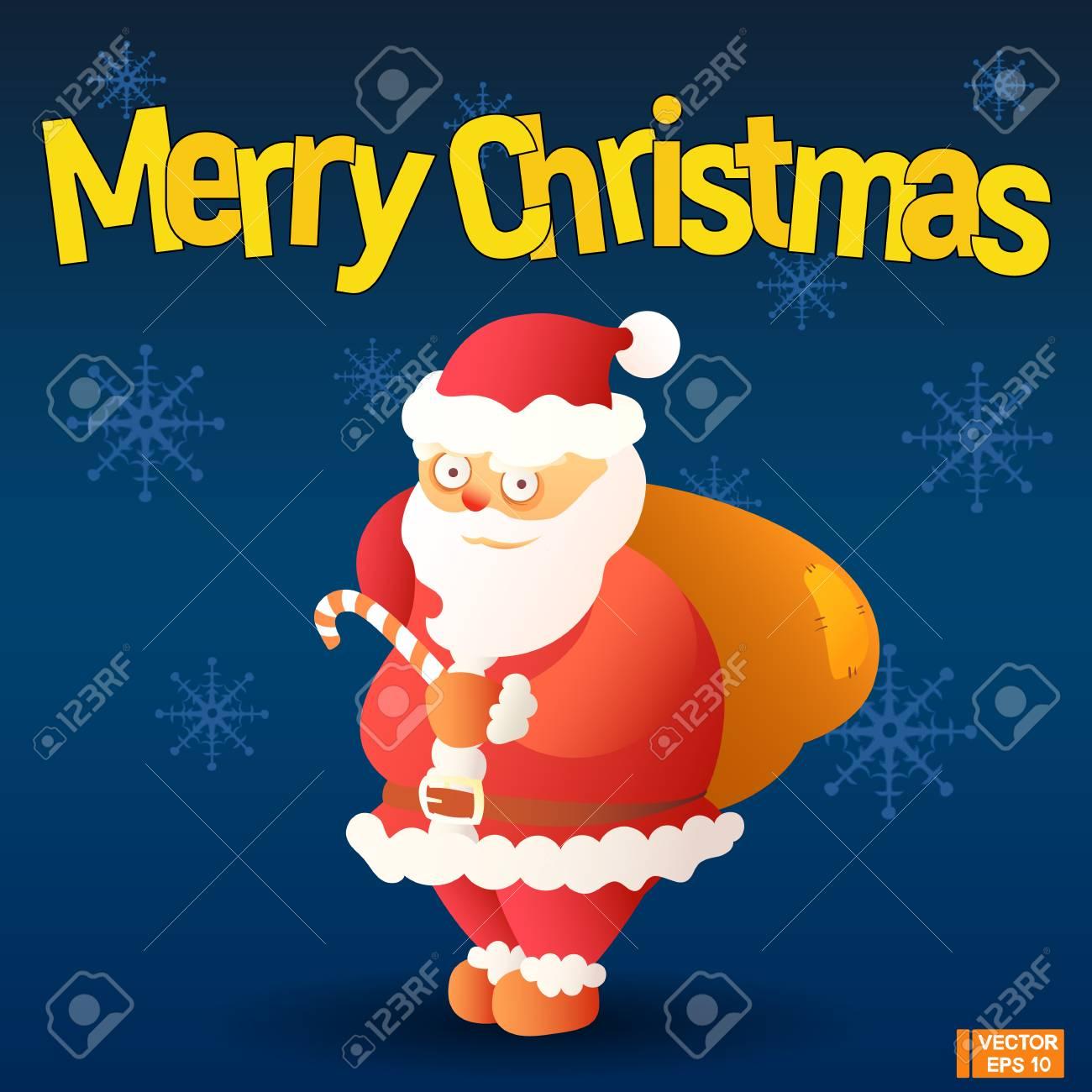 Merry Christmas. Funny Cartoon Santa Claus On A Dark Background ...