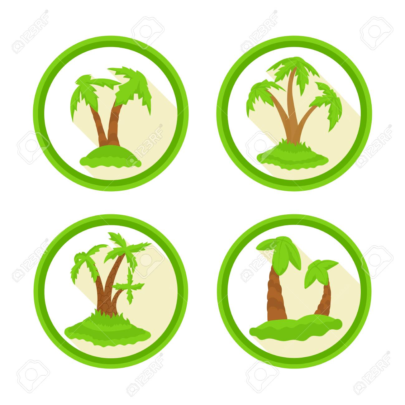 A Set Of Icons With Palm Trees. Bright Colored Palms In A Flat ...