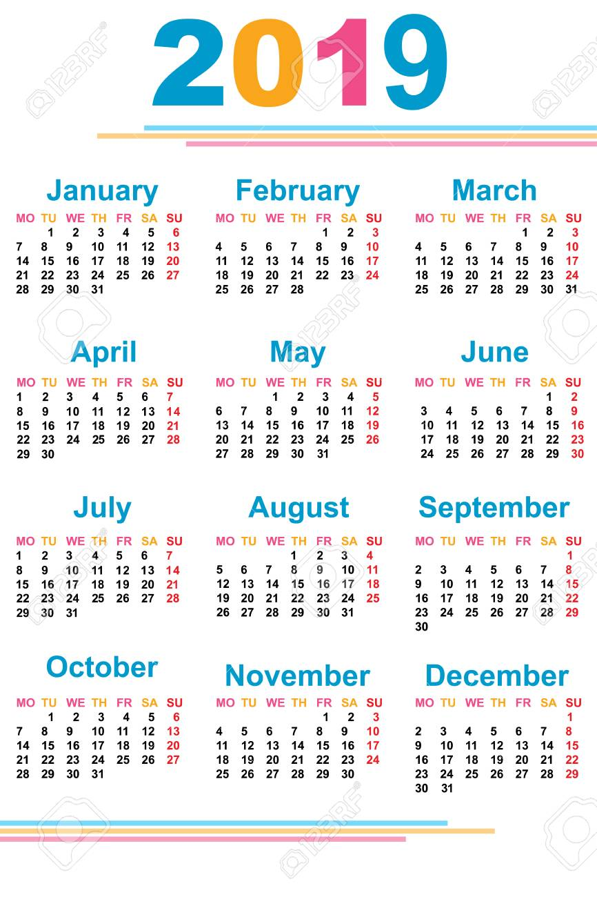 2019 Calendar Dates The Calendar. New Year. 2019. Date. For Your Design. Stock Photo