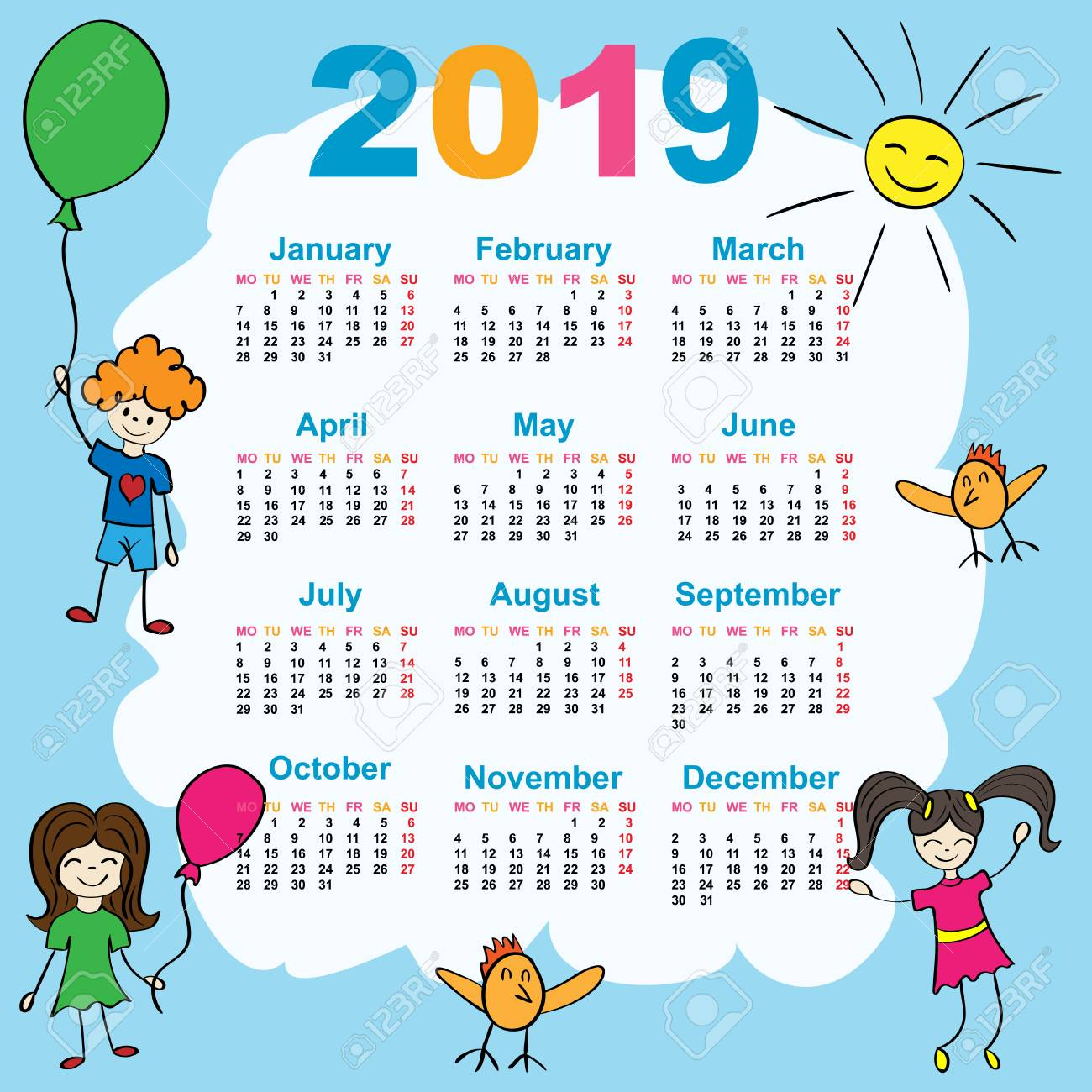 Good New Year. 2019. Date. For Your Design. Stock Photo
