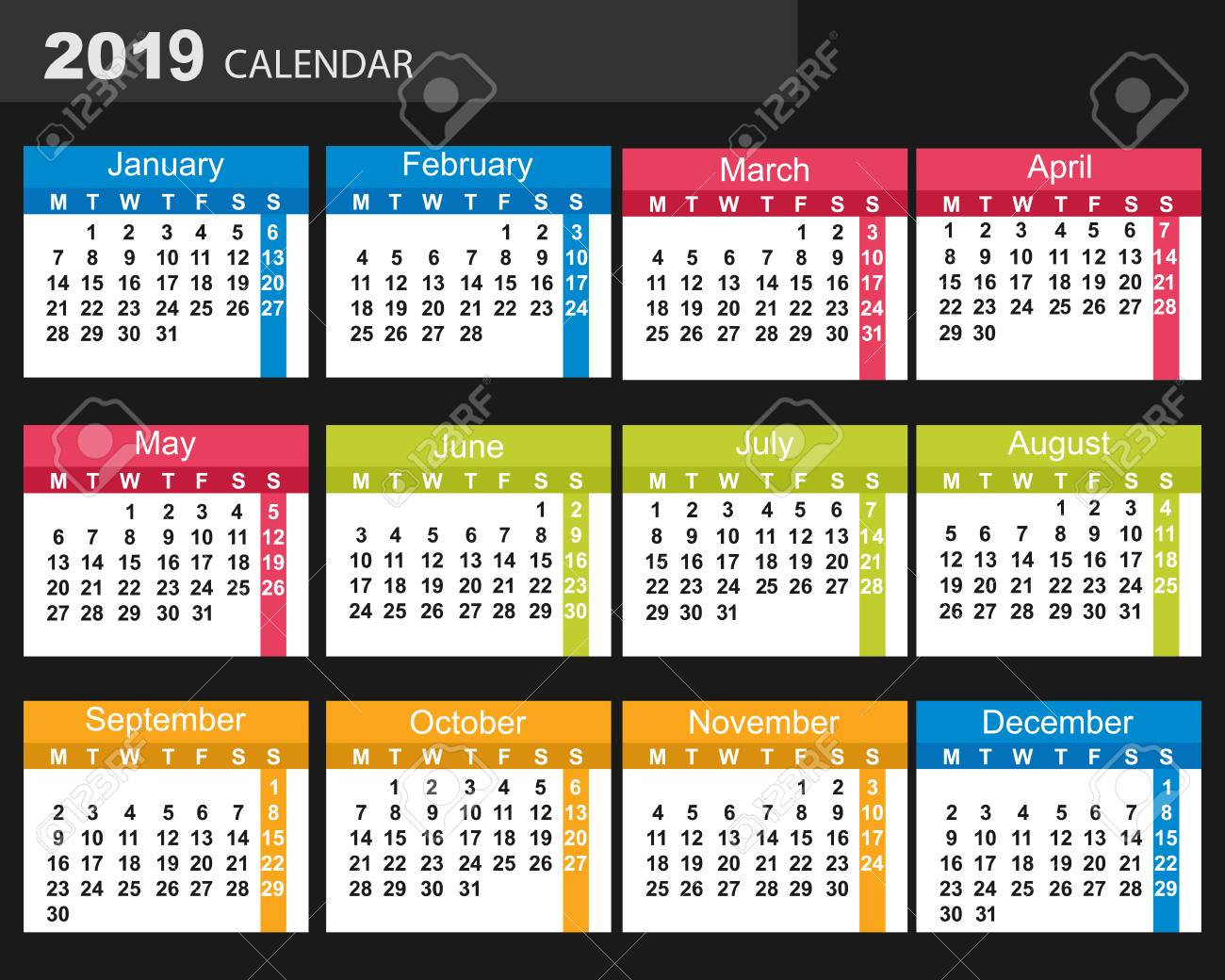 New Year. 2019. Date. For Your Design. Stock Photo