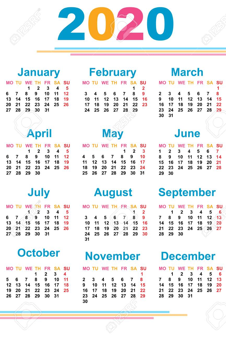 Calendar For The Year 2020 Calendar For The New Year. 2020. Grid. Date. For Your Design