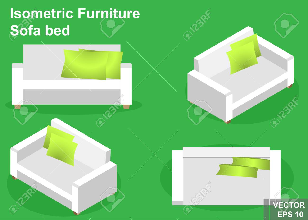 Sofa Bed Isometry View From Above Isolated On Background Stock