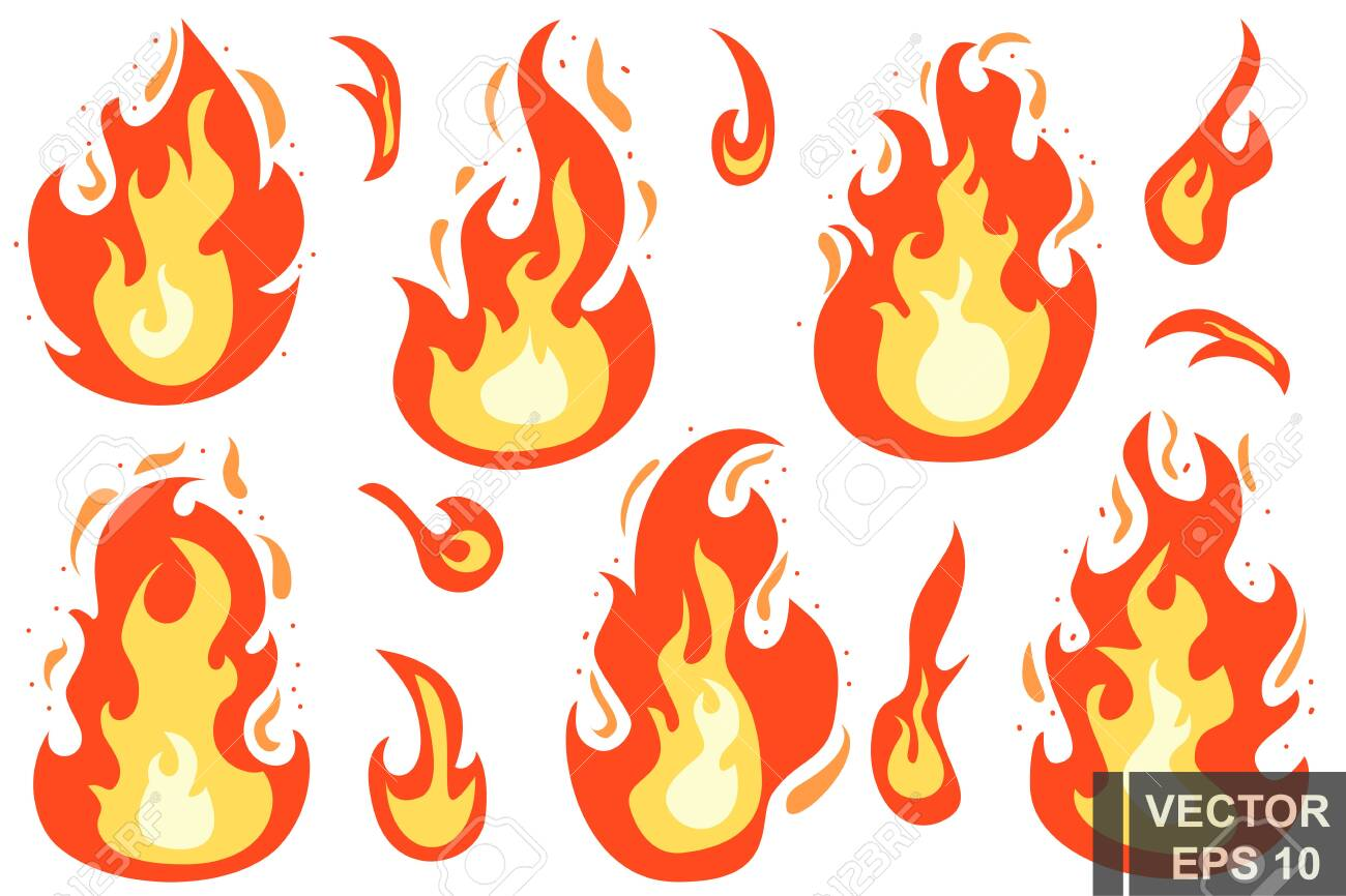 Flat style. The fire. Cartoon. Bright hot. Flame. Effect. For your design. - 133048403