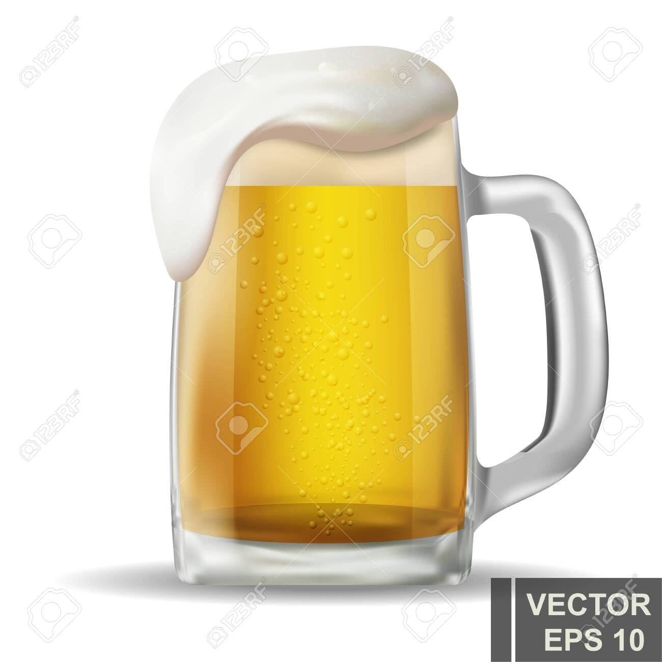 realistic beer mug. Alcoholic drink. Bright. Isolated object. For your design. - 135039367