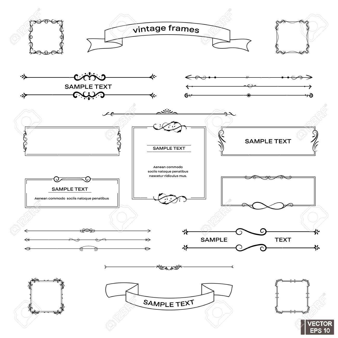 Vector image. Set of vintage frames. Scrolls and curls, elements for design. - 135074415