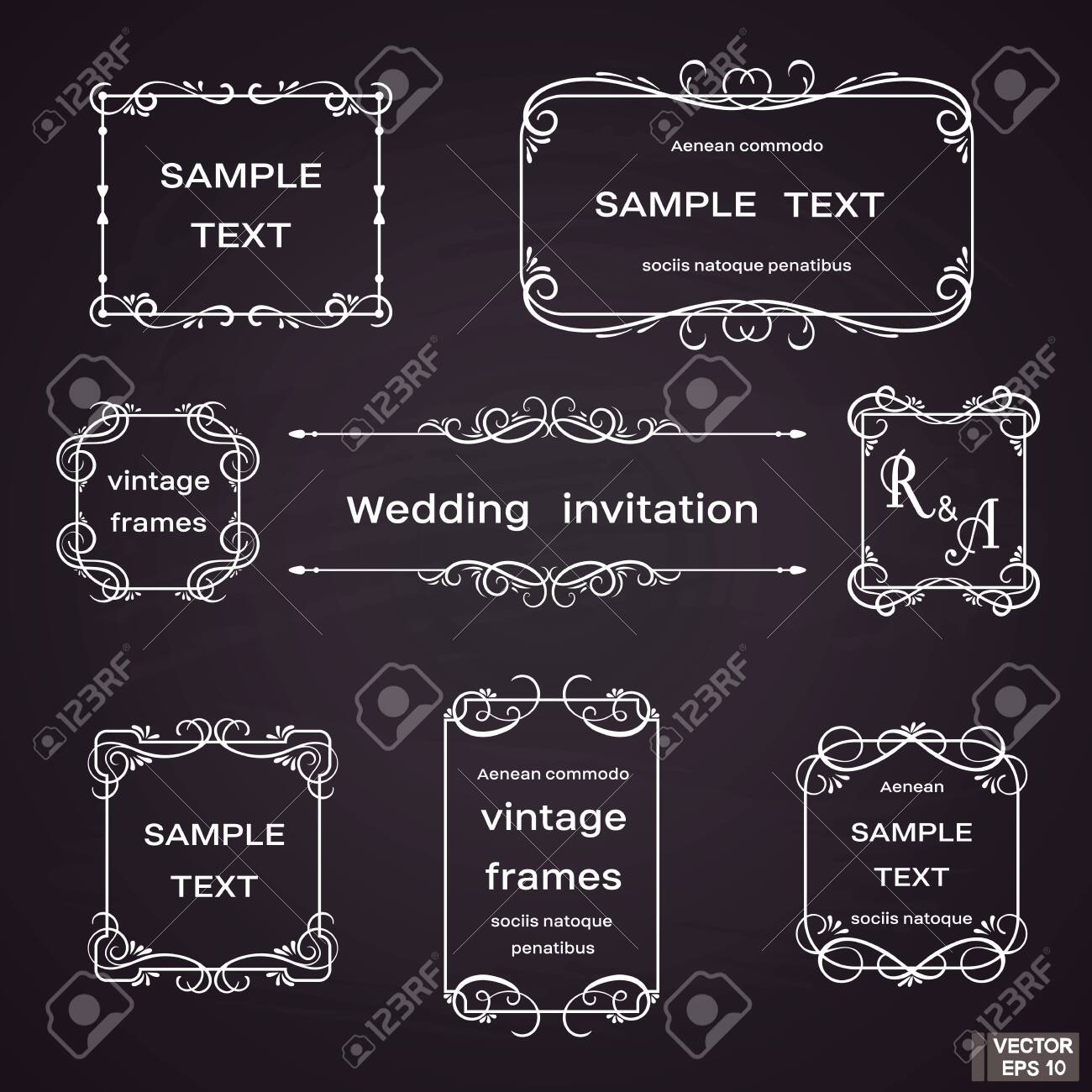 Vector image. Set of vintage frames with floral scrolls and curls. White on black background. - 141474690