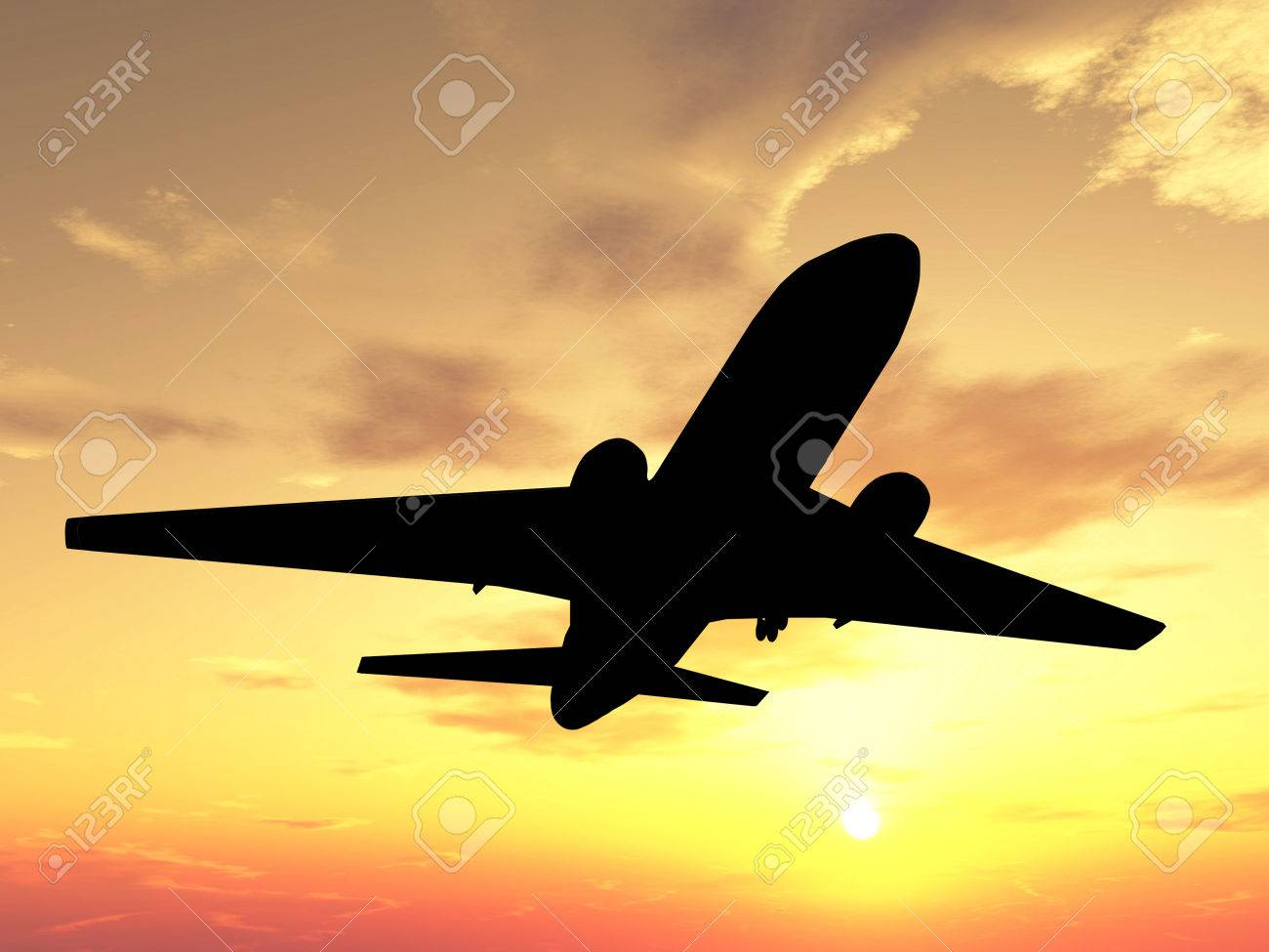 Silhouette of airplane over sunset Stock Photo - 1470930