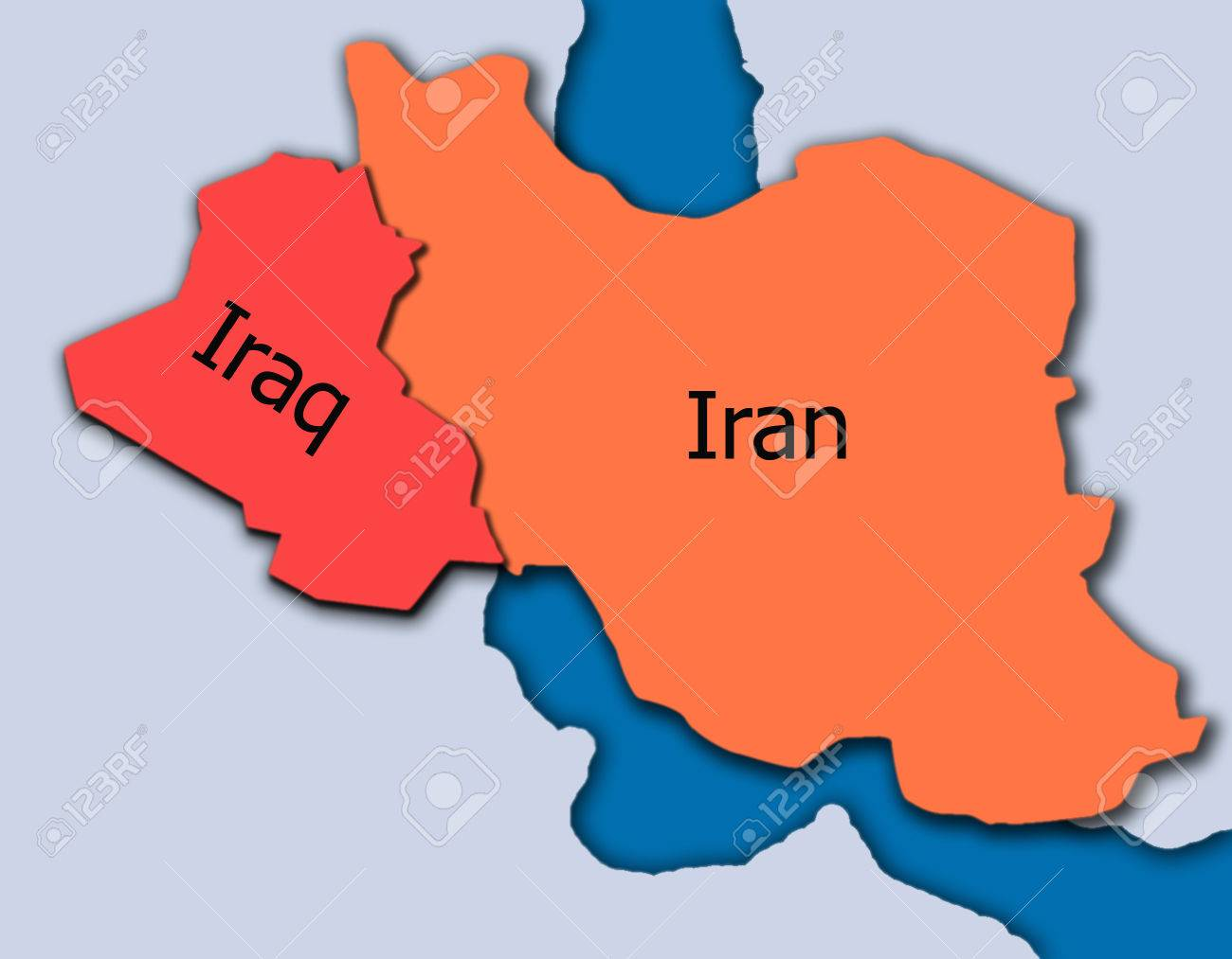 Iran And Iraq Map 3d Stock Photo Picture And Royalty Free Image