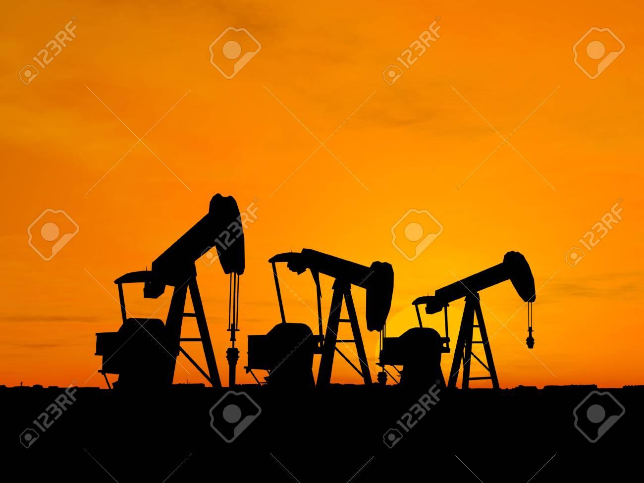 Three pumps over orange sky Stock Photo - 1470989