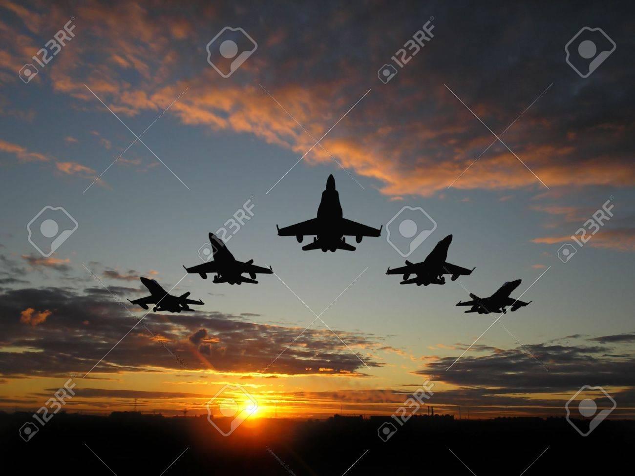 Five bombers over orange sunset Stock Photo - 2030048