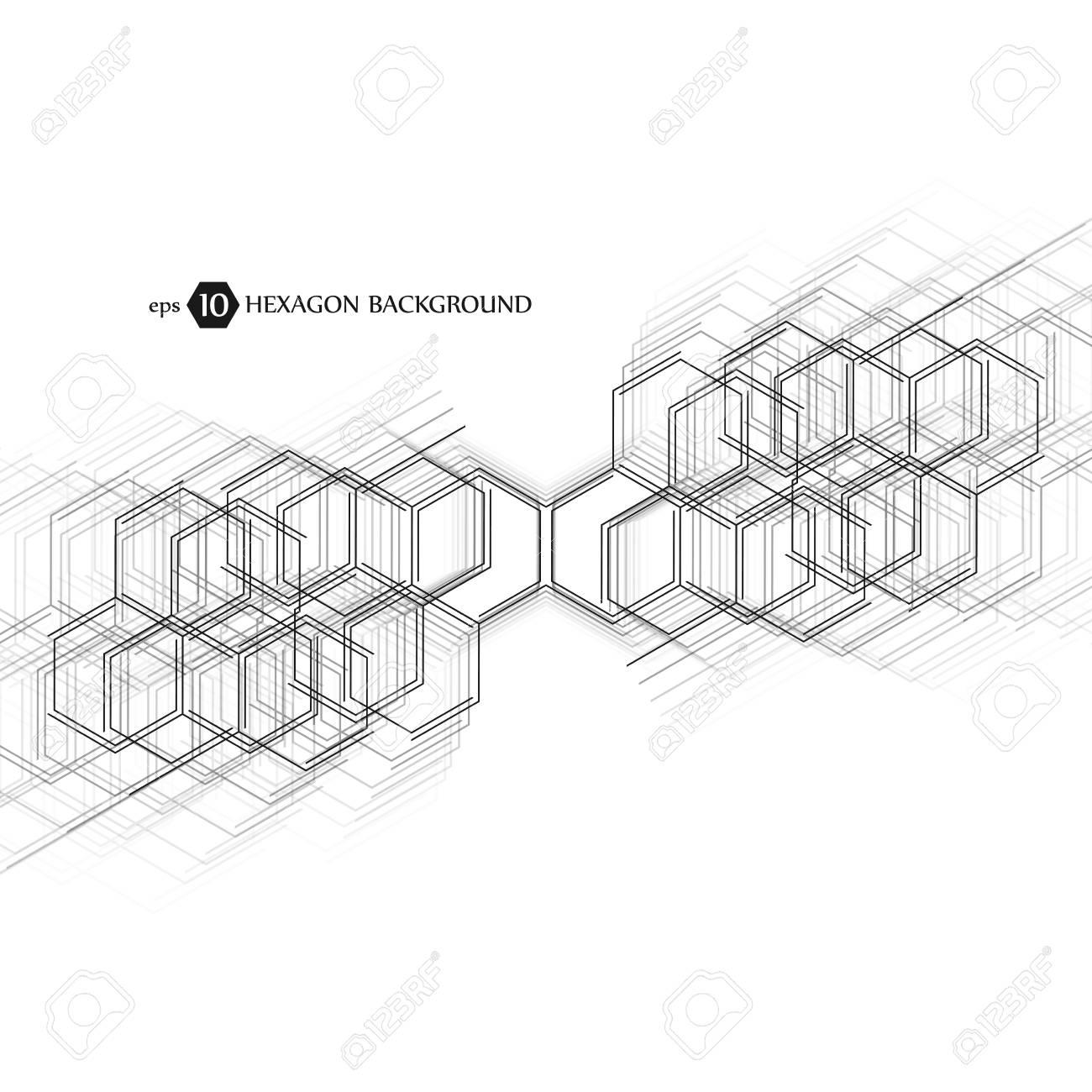 Abstract molecule background  Hexagonal chemistry pattern  Molecular