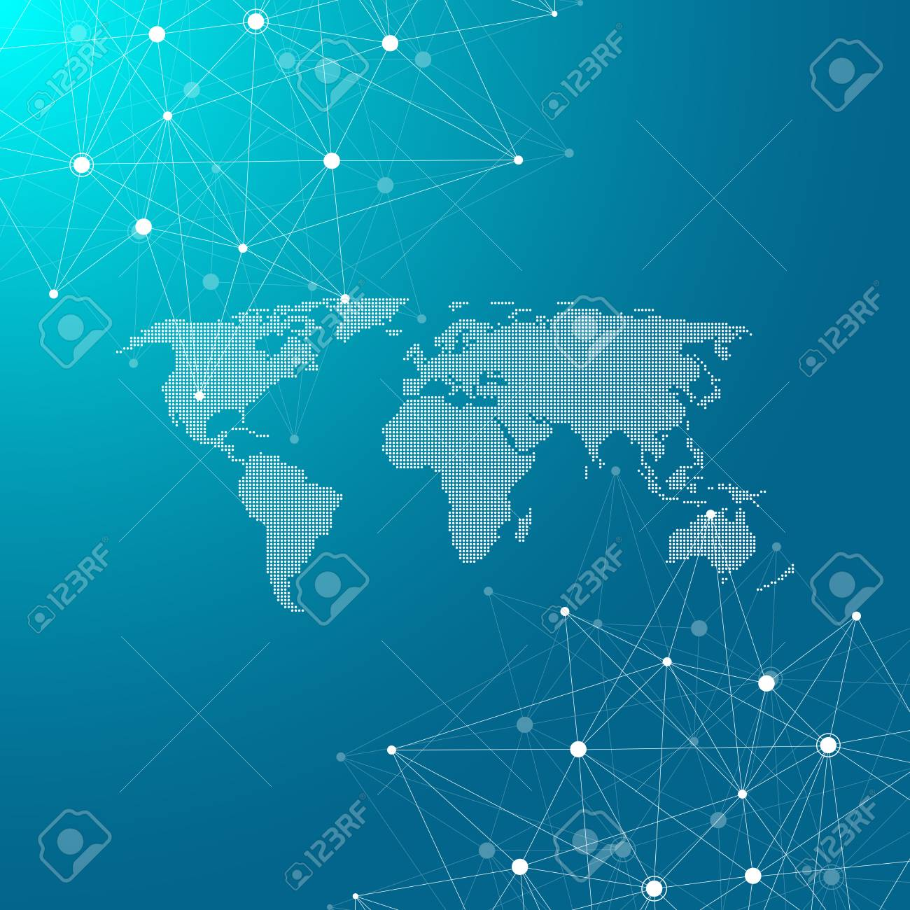 Global Network Connections With Dotted World Map Internet Connection Diagram Background Abstract Structure