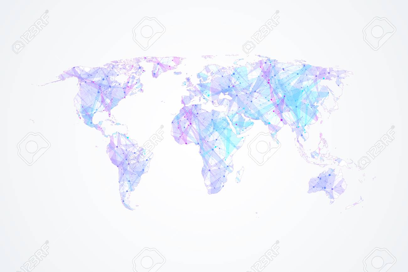 Colorful world map vector global network connections with points colorful world map vector global network connections with points and lines internet connection background gumiabroncs Choice Image
