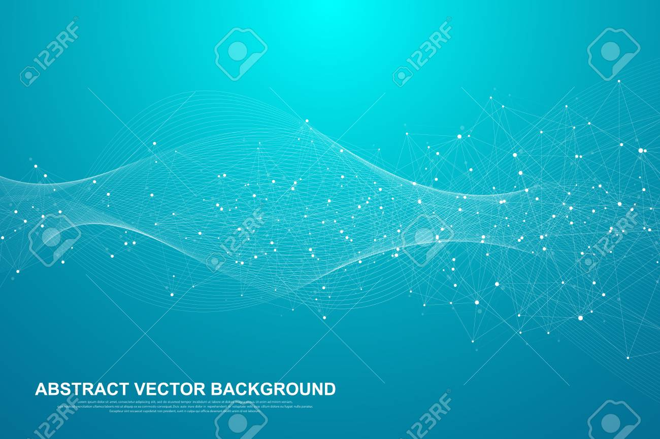 Abstract plexus background with connected lines and dots. Plexus geometric effect Big data with compounds. Lines plexus, minimal array. Digital data visualization. Vector illustration. - 125974280
