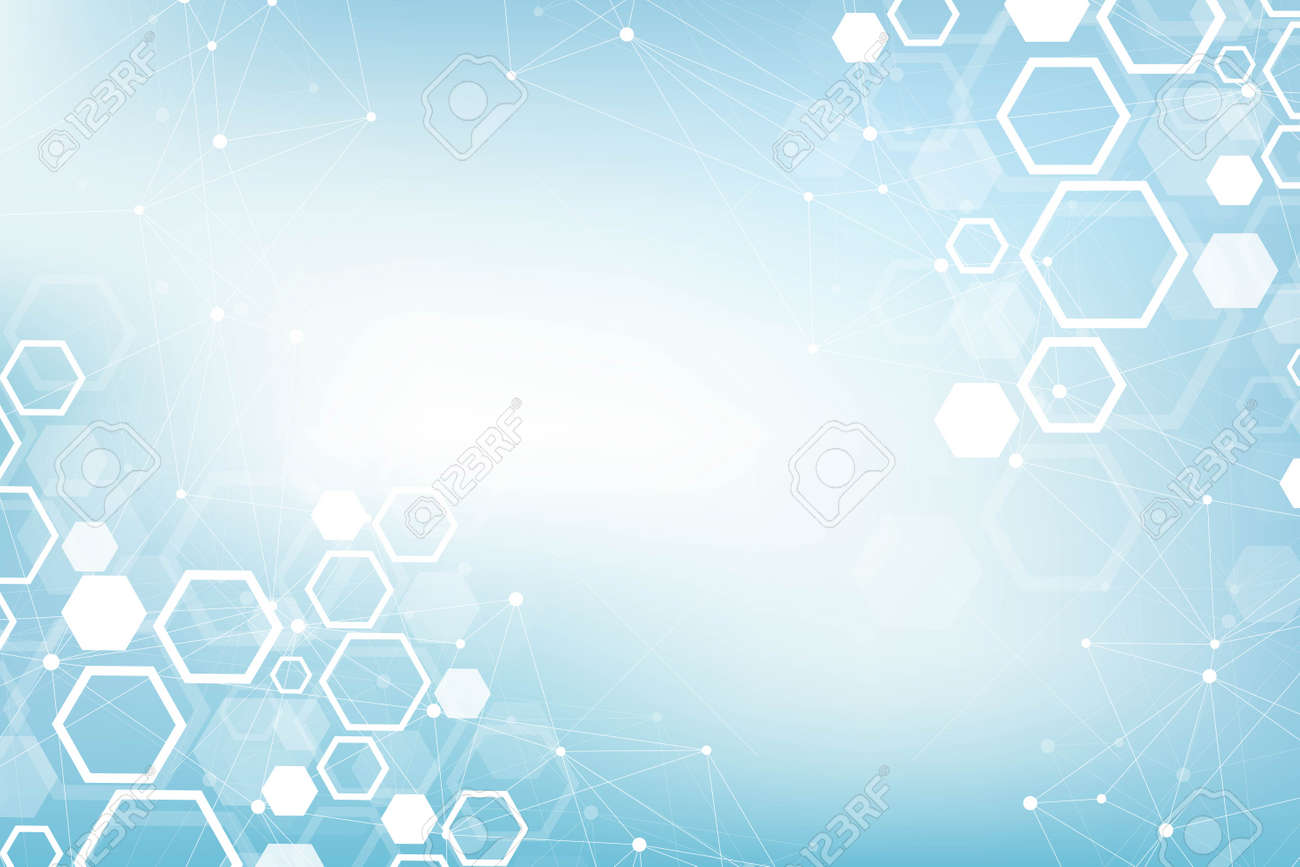 Abstract medical background DNA research, molecule, genetics, genome, DNA chain. Genetic analysis art concept with hexagons, lines, dots. Biotechnology network concept molecule, vector illustration. - 125644685