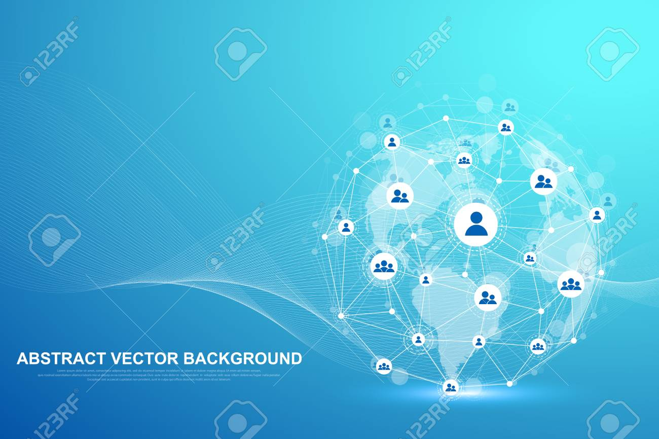 Global structure networking and data connection concept. Social network communication in the global computer networks. Internet technology. Business. Science. Vector illustration - 124640055