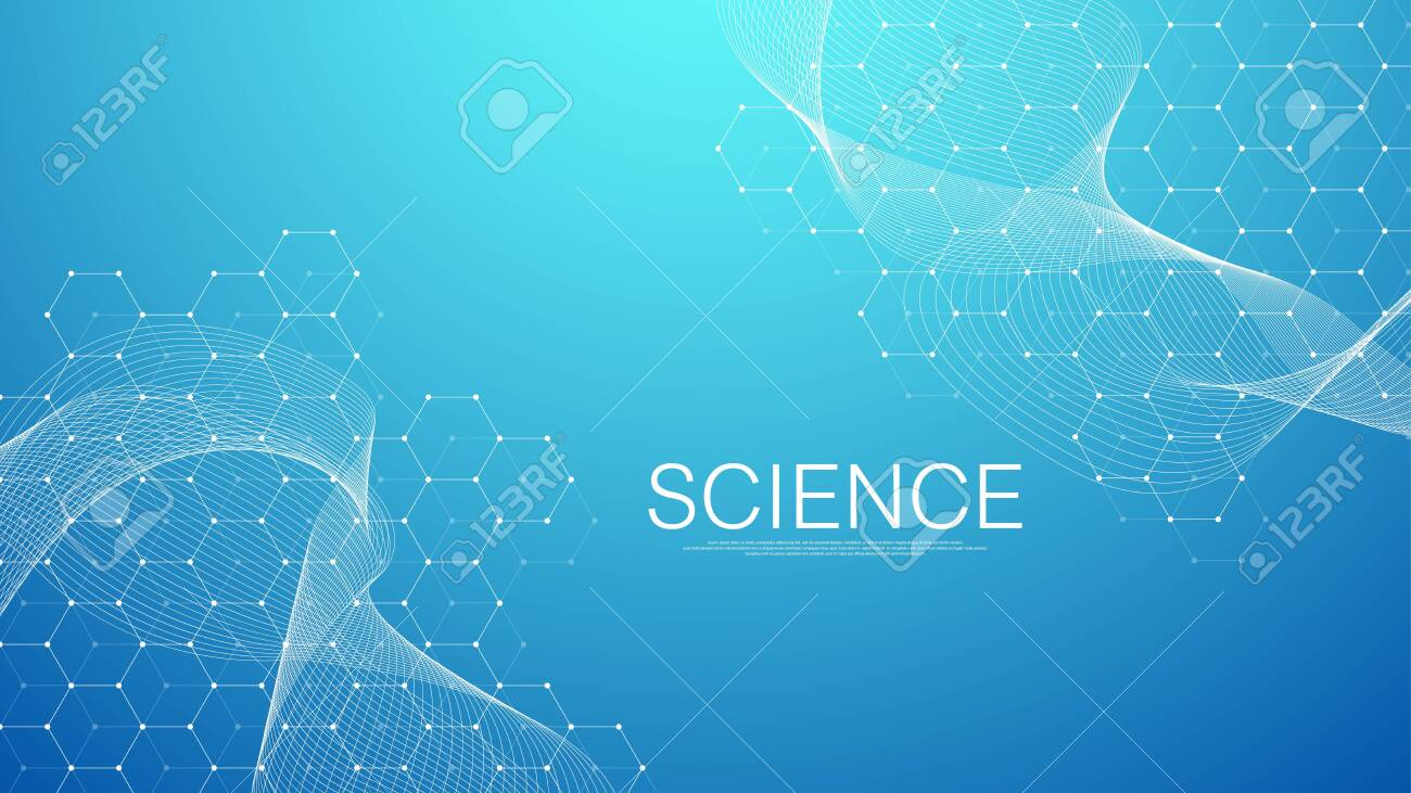 Abstract medical background DNA research, molecule, genetics, genome, DNA chain. Genetic analysis art concept with hexagons, waves, lines, dots. Biotechnology network concept molecule, vector. - 139313248