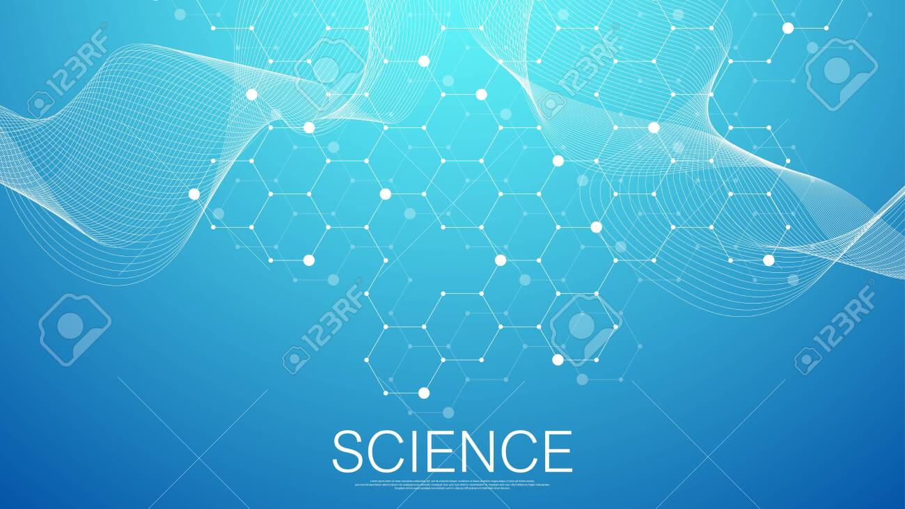 Scientific molecule background for medicine, science, technology, chemistry. Science template wallpaper or banner with a DNA molecules. Dynamic wave flow DNA. Molecular vector illustration. - 144752008