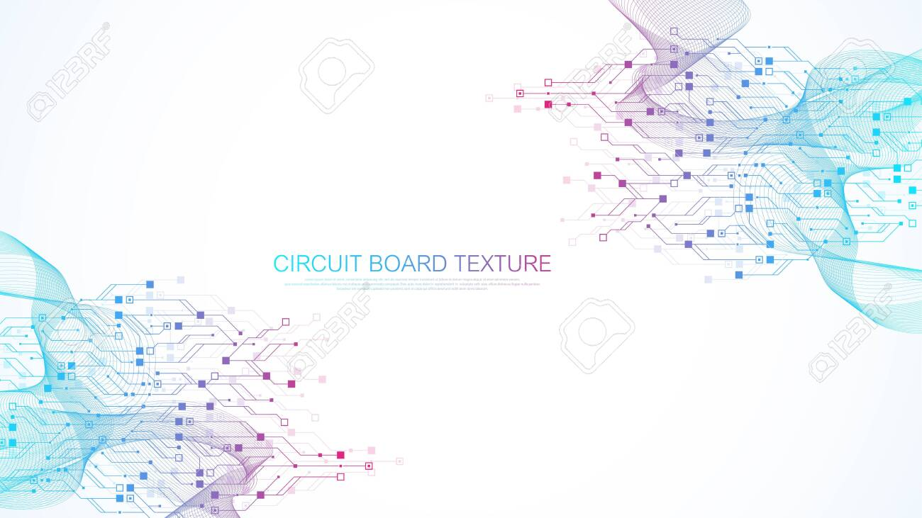 Abstract background with High-tech technology texture circuit board texture. Abstract circuit board banner wallpaper. Electronic motherboard vector illustration - 153597049