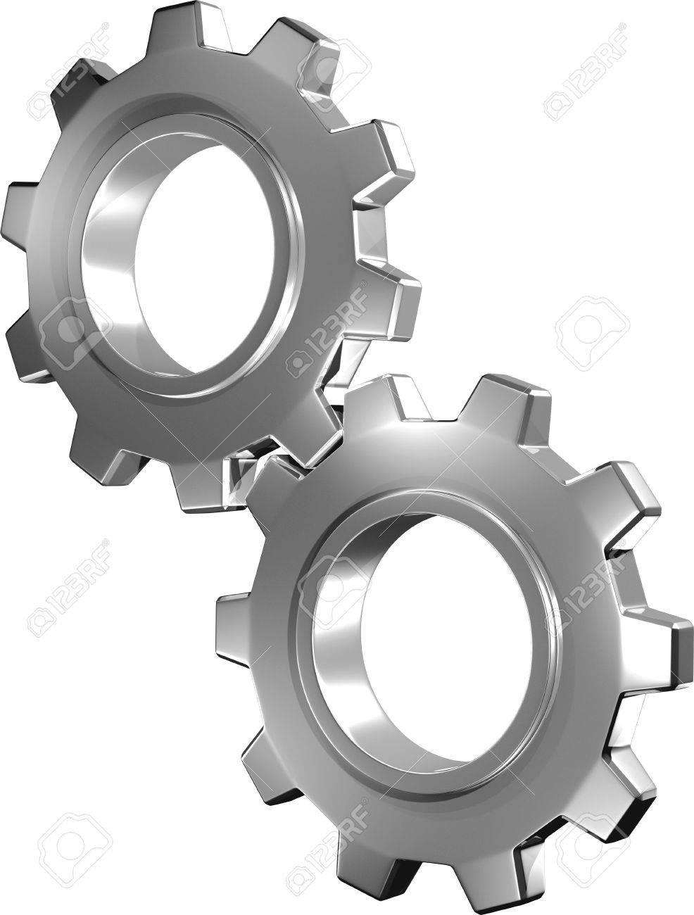 3D Metallic Gears In Motion Stock Photo - 6019650