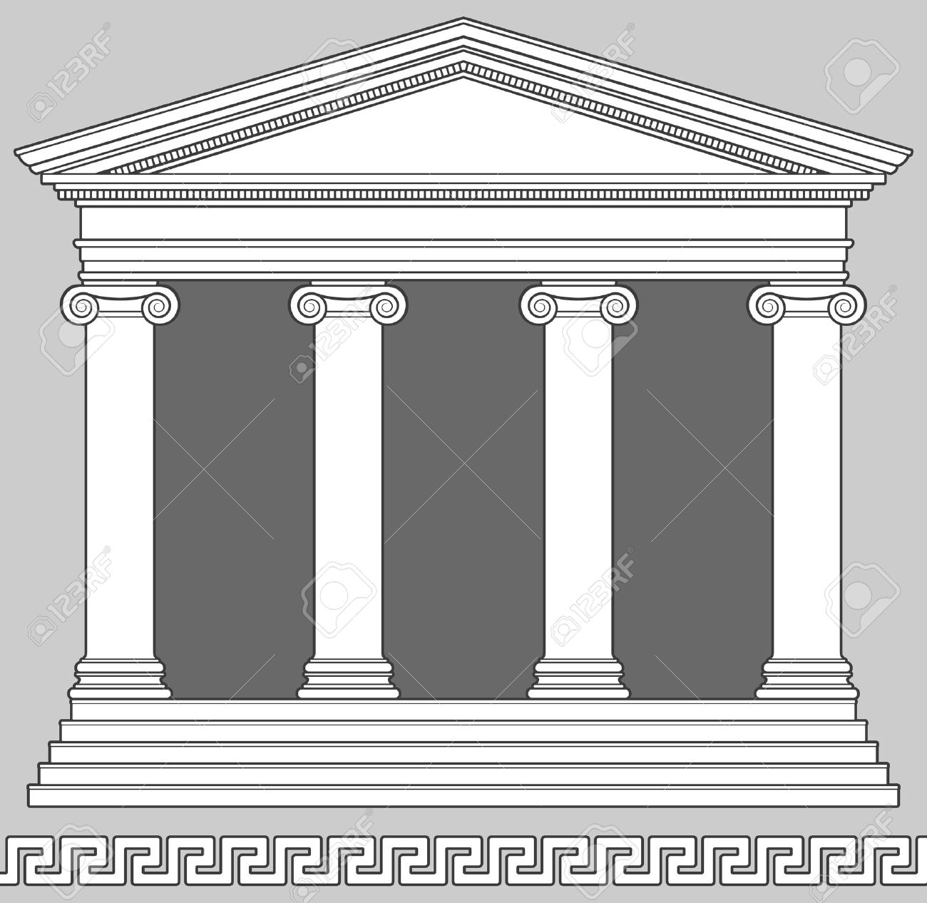Ionic Temple with Greek Key Pattern Stock Vector - 7404141