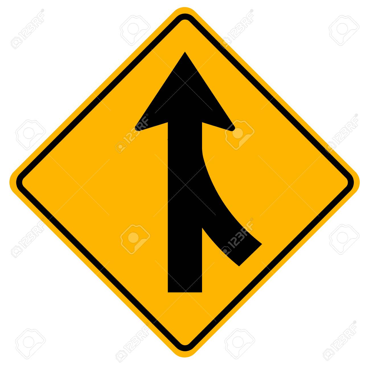 Merges Right Traffic Road Sign,Vector Illustration, Isolate On White Background, Symbols, Icon. EPS10 - 121275127