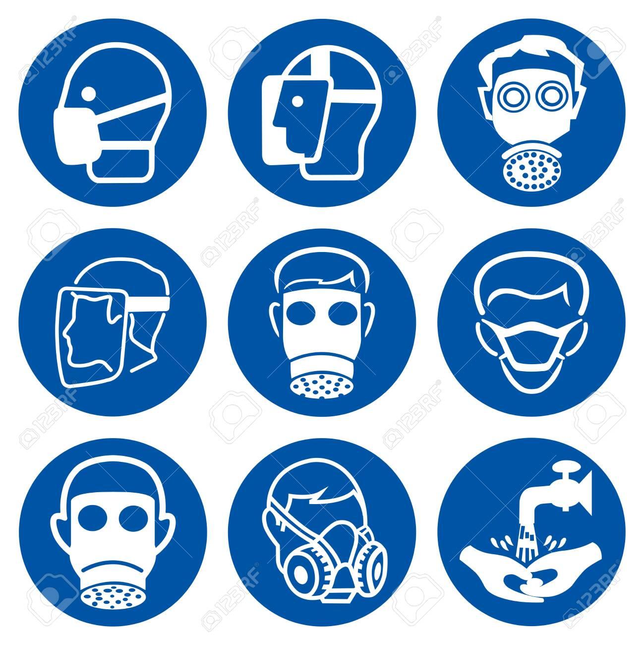 Set Of PPE Mandatory Protective Face Symbol Sign,Vector Illustration, Isolated On White Background Label. EPS10 - 143682766